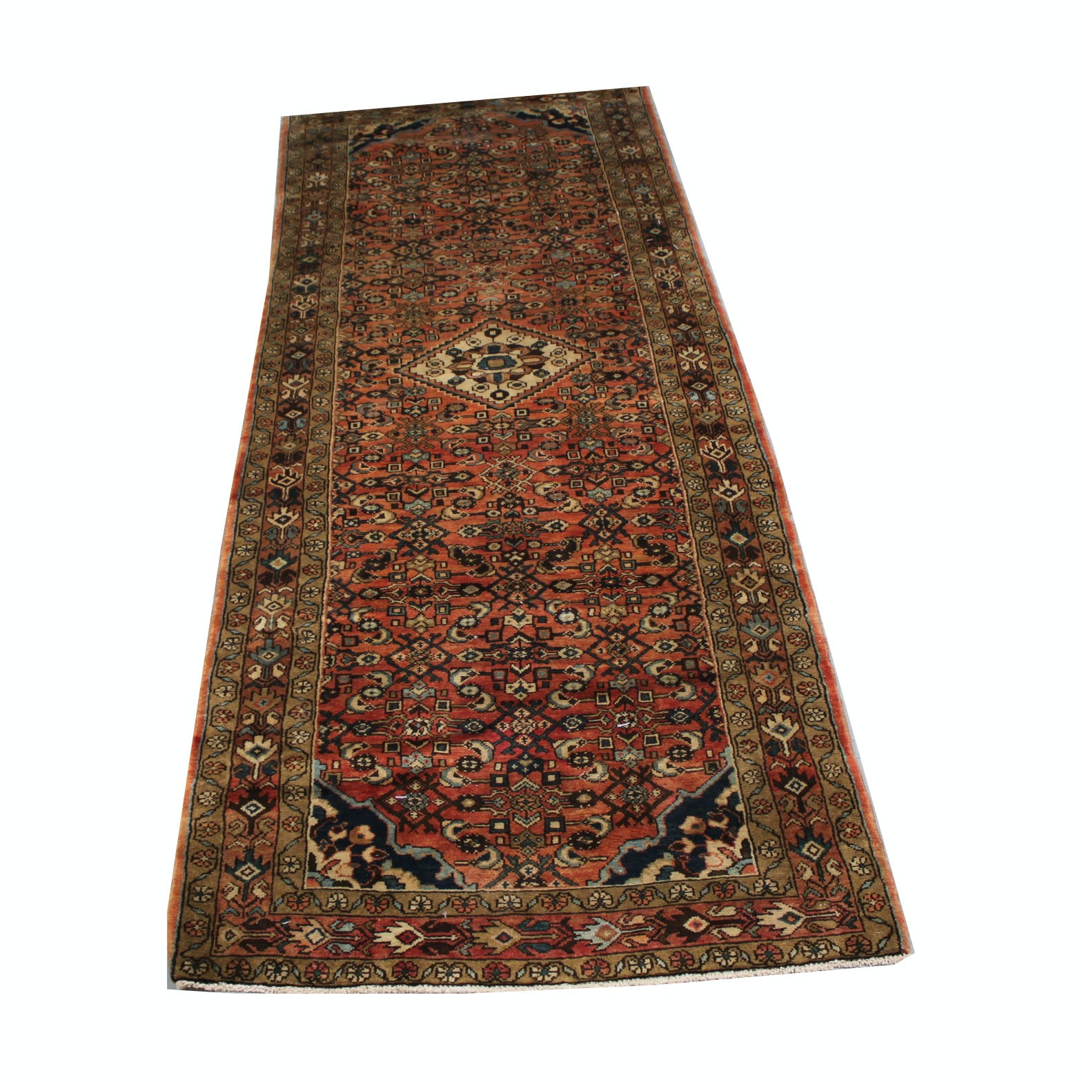 Vintage Hand-Knotted Persian Malayer Wool Long Rug