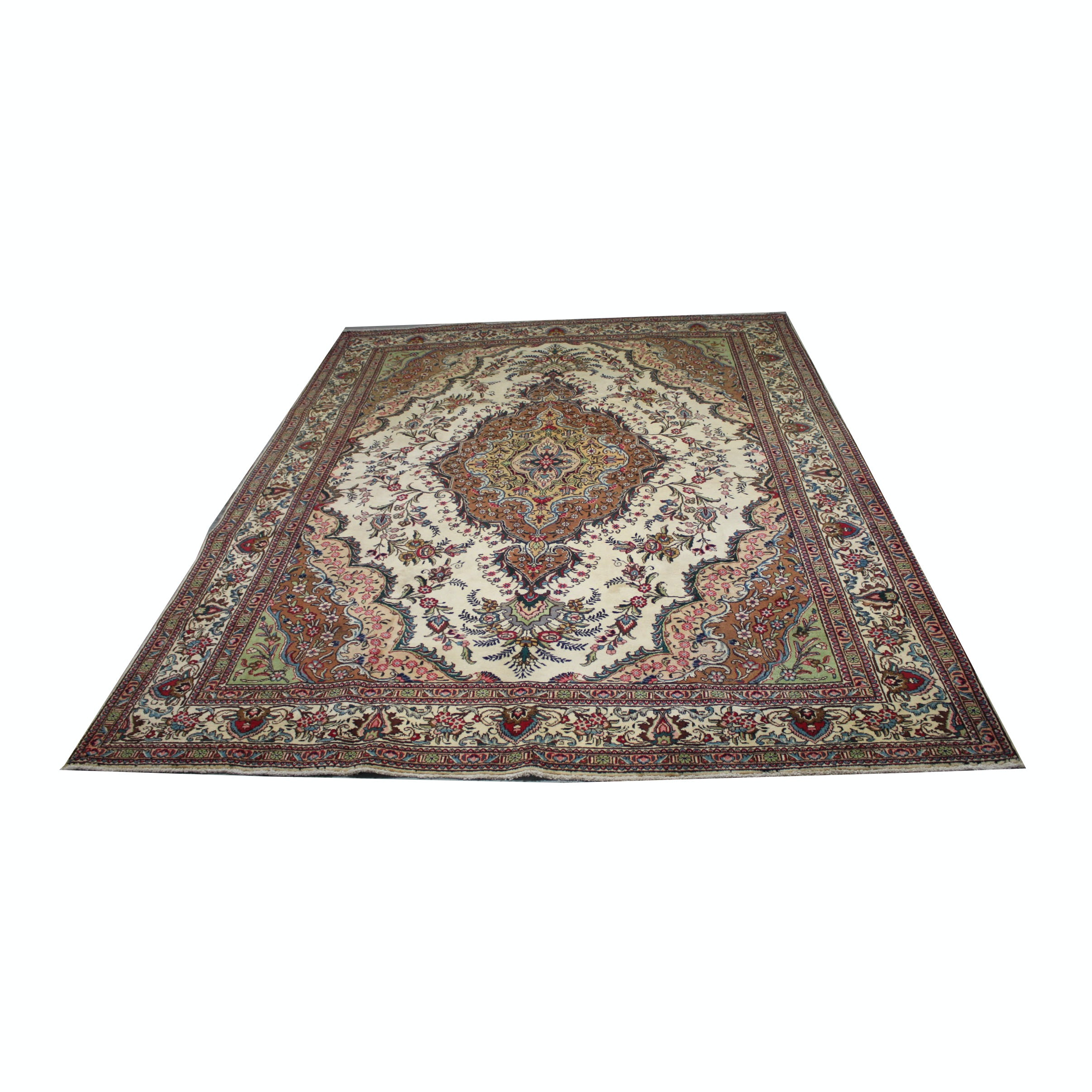 Vintage Hand knotted Persian Garden Tabriz Wool Area Rug