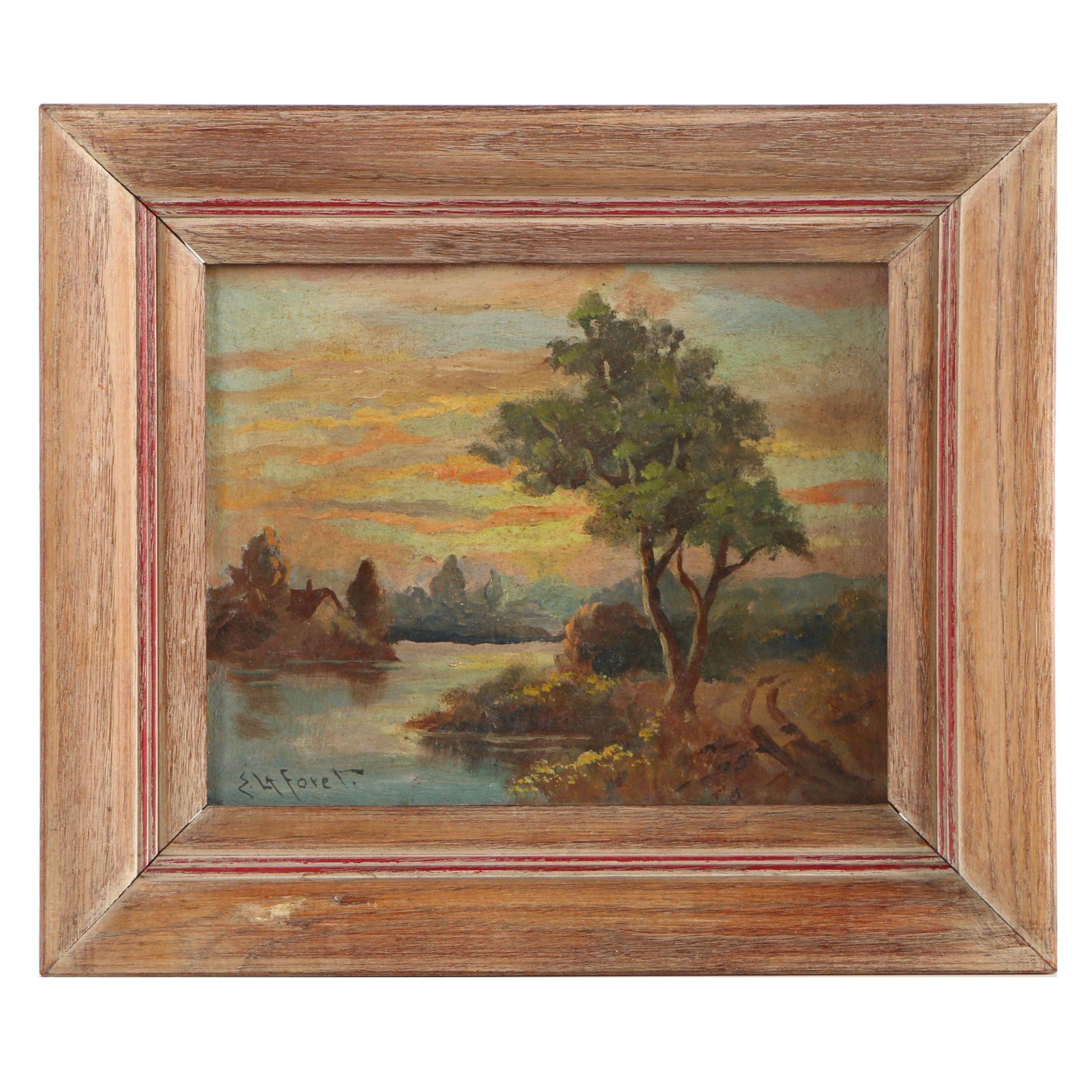 Eugene LaForet Oil Painting of Lake Scene