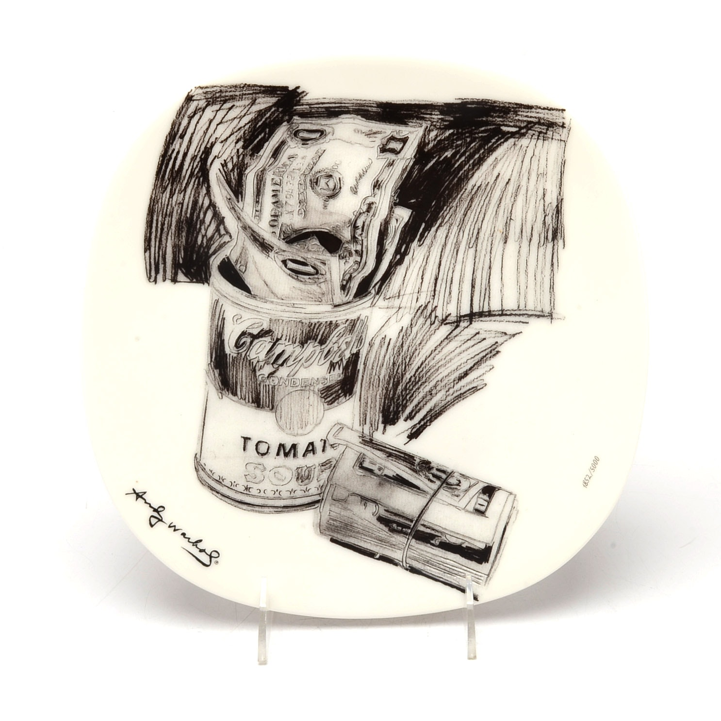 "Andy Warhol's ""Campbell's Soup Can and Dollar Bills"" Plate"