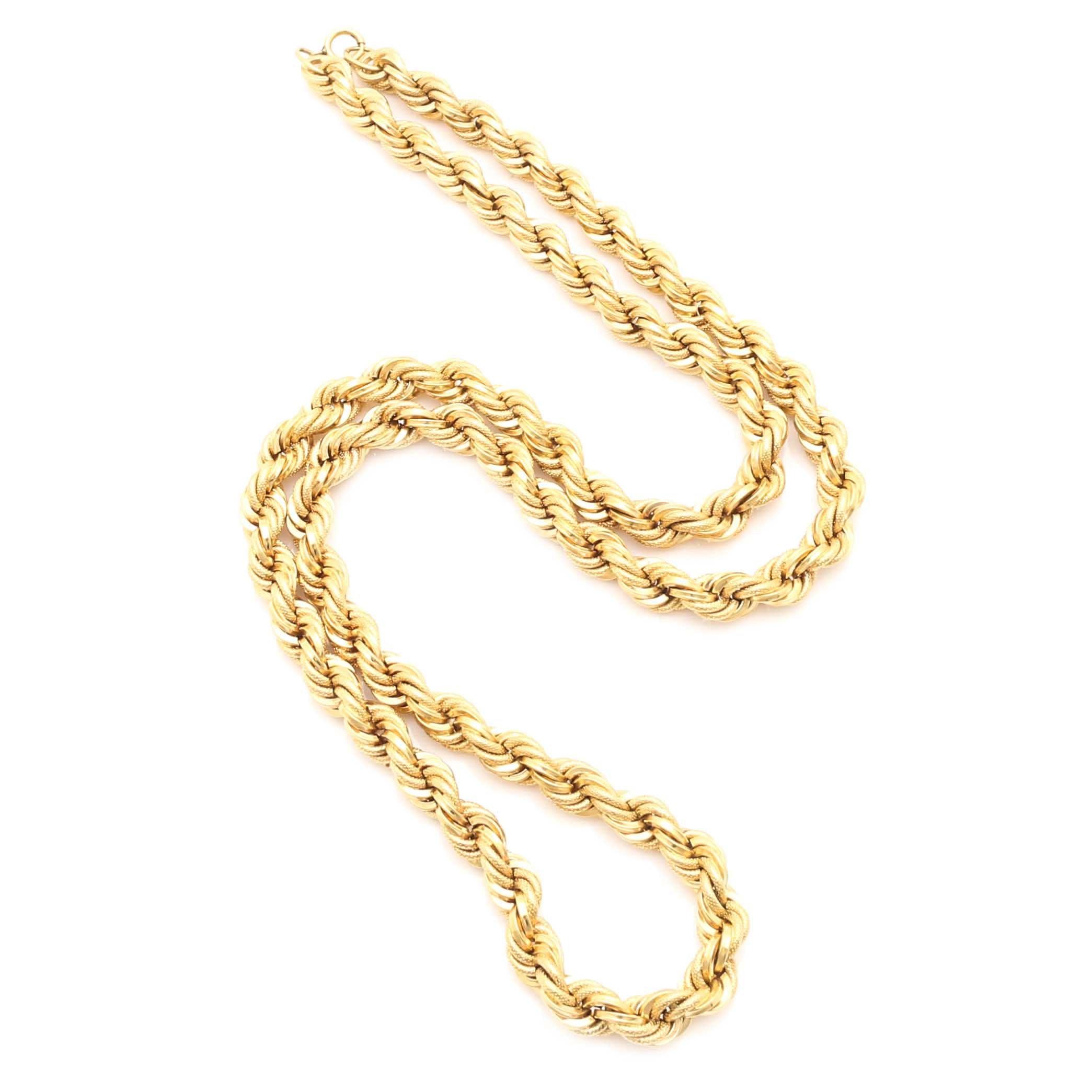 18K Yellow Gold Textured Rope Chain