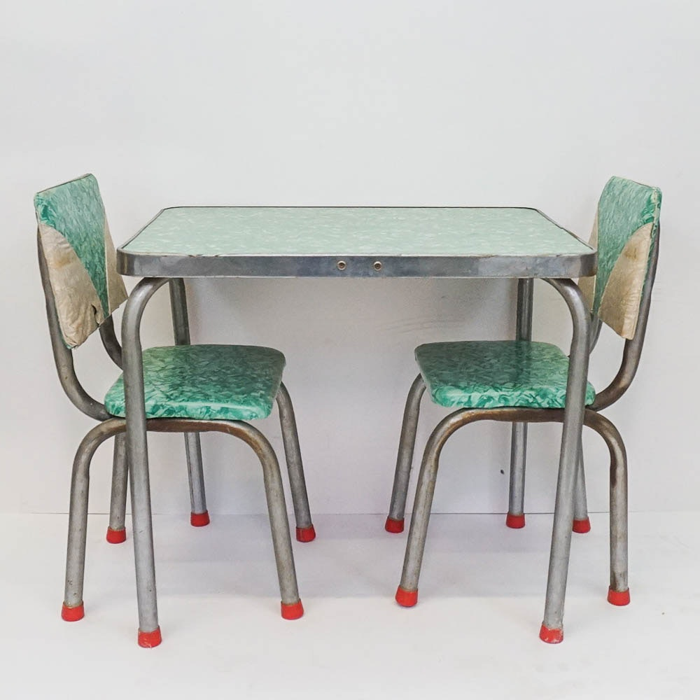 Mid-Century Childrens Table and Chairs