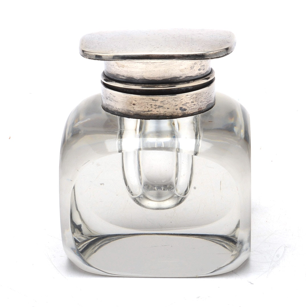 Meriden Brittania Co. Sterling Silver and Glass Inkwell