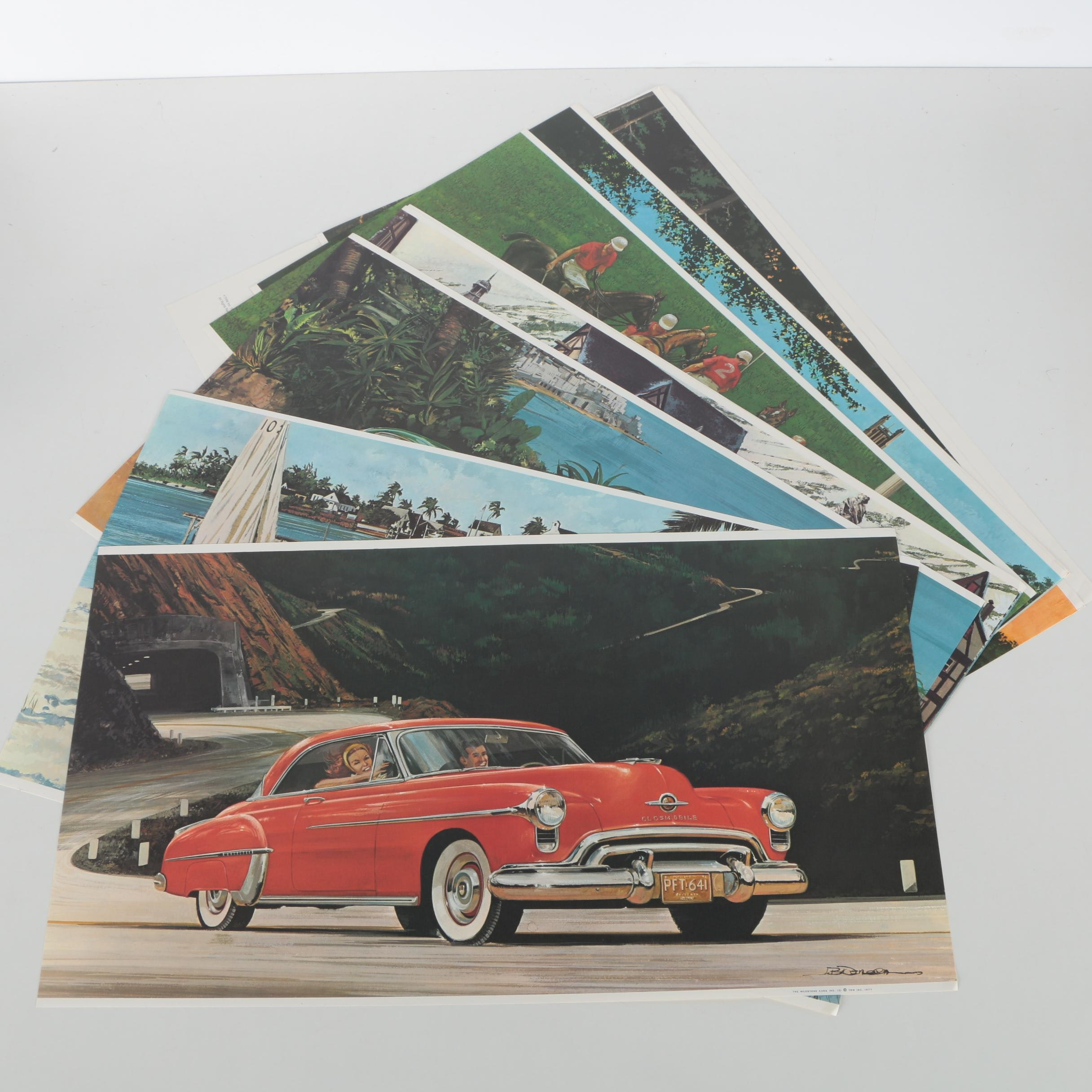 """Collection of Twelve James B. Deneen Offset Lithographs on Paper """"The Milestone Cars"""""""