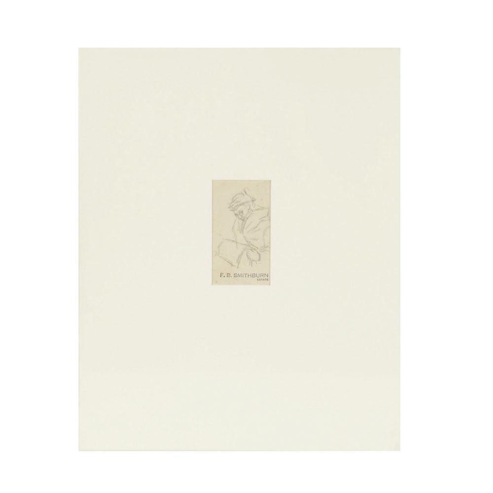 Florence Bartley Smithburn Original Graphite Sketch  on Paper