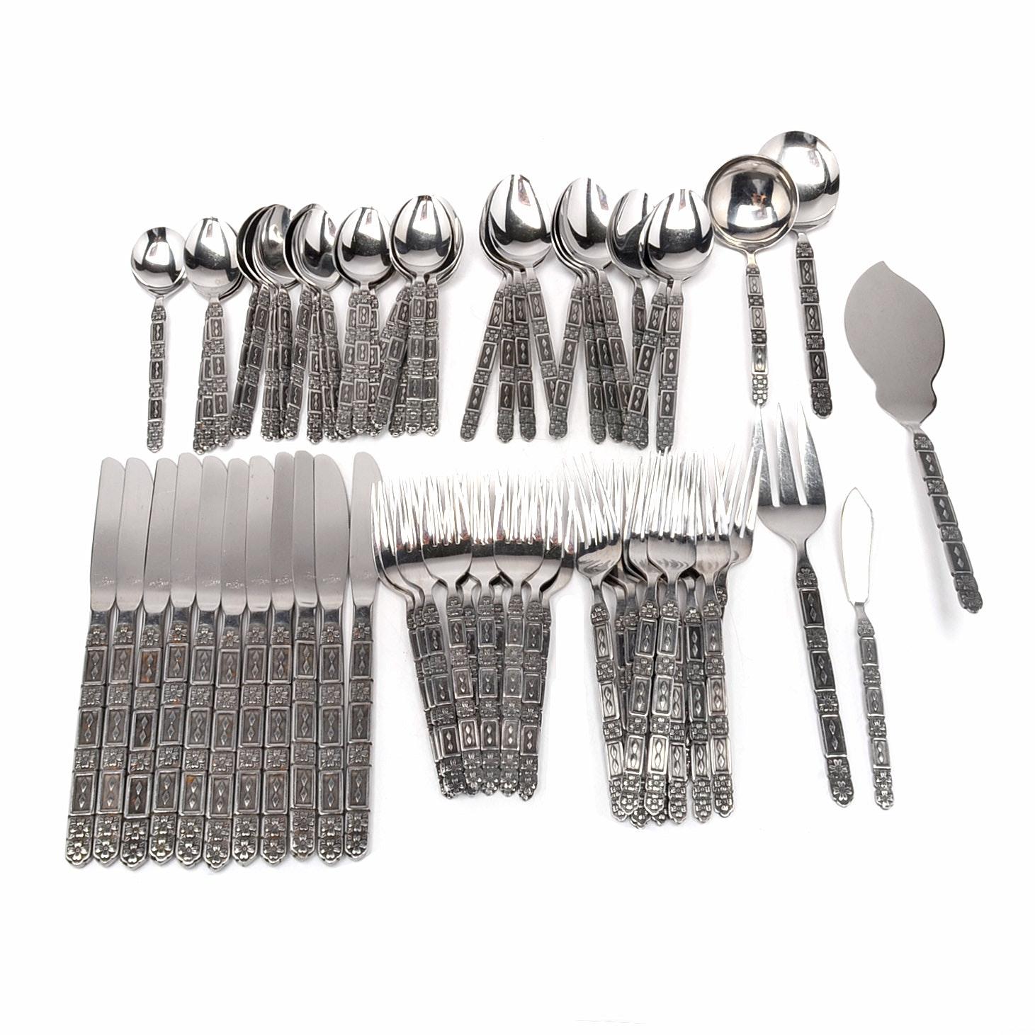 Vintage Stainless Steel Flatware Set by Lifetime Cutlery of Japan