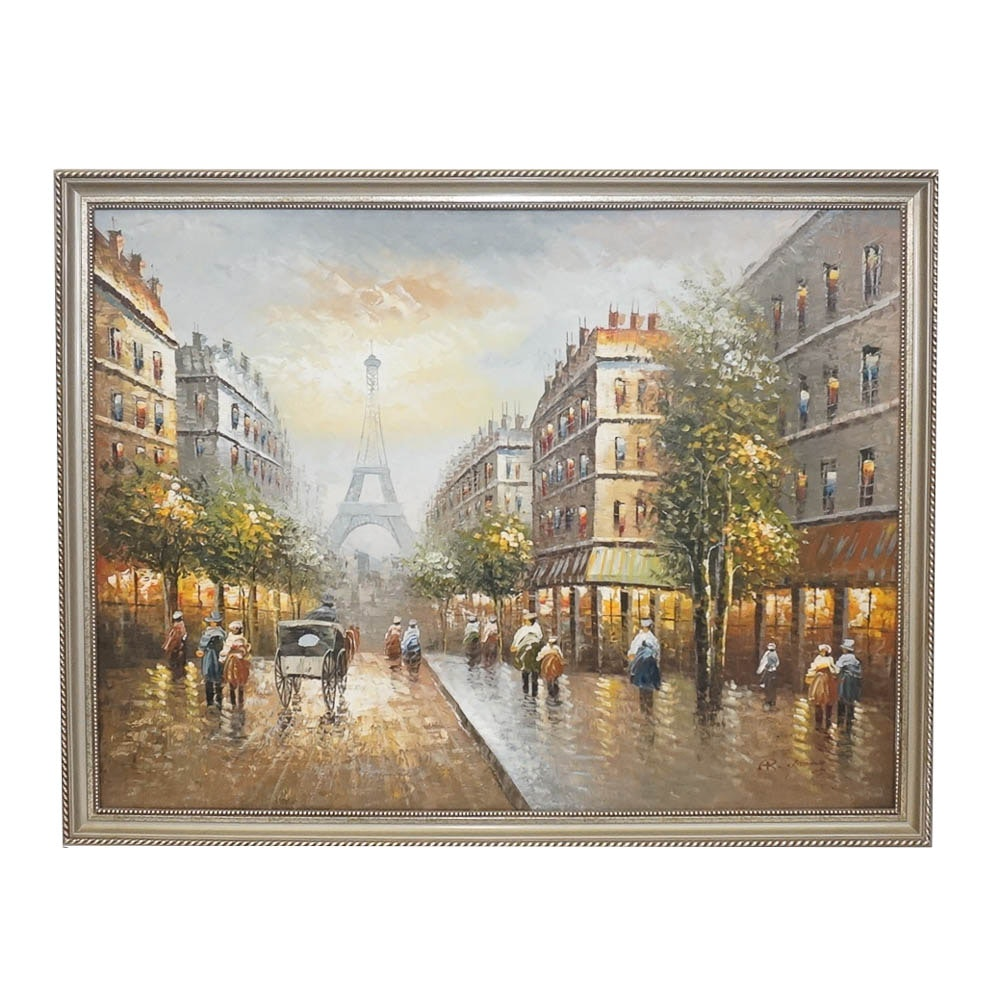 R. Young Oil Painting of Parisian Street Scene After the Rain