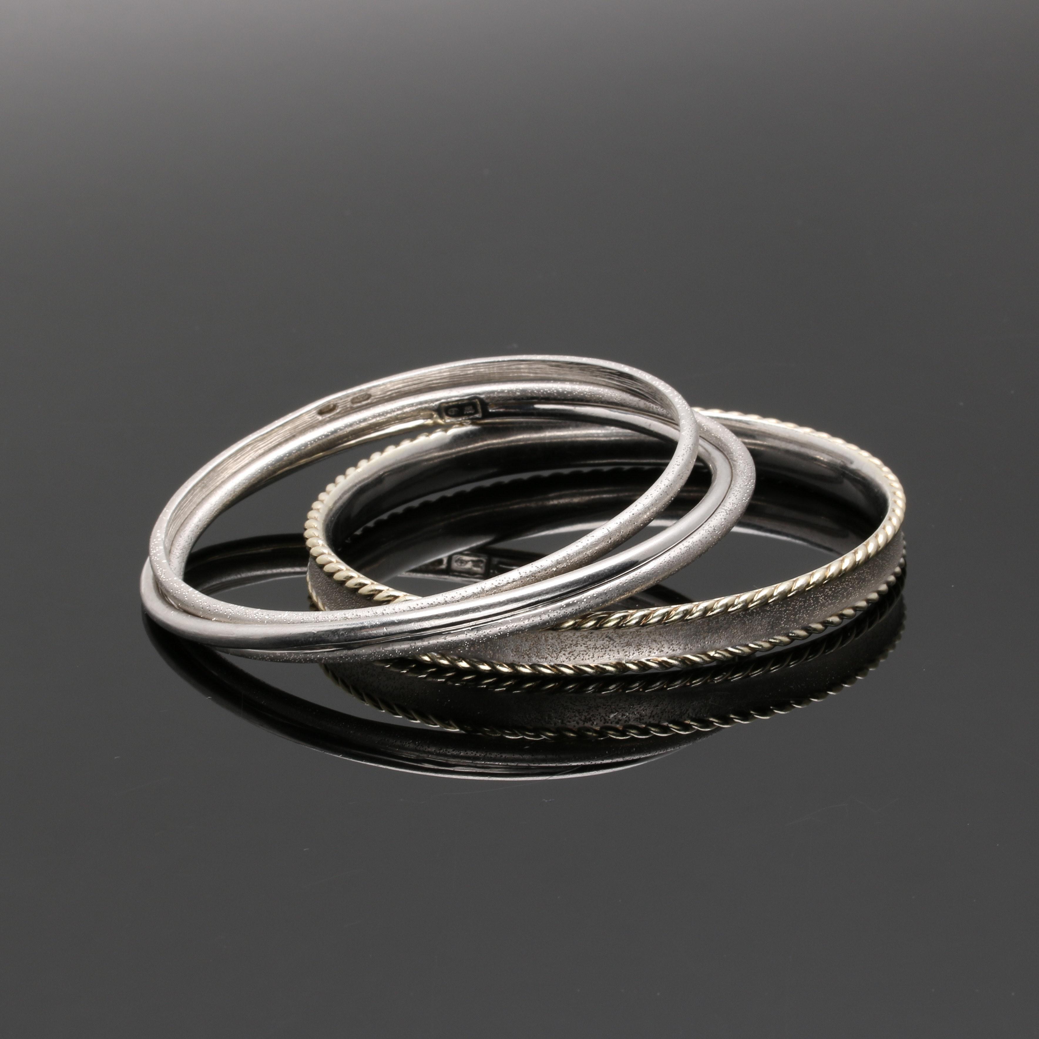 Charles Garnier Sterling Silver Bangle Bracelets