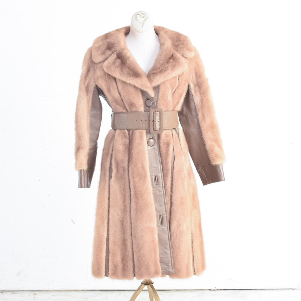 Women's Circa 1970s Vintage Mink Fur and Leather Coat