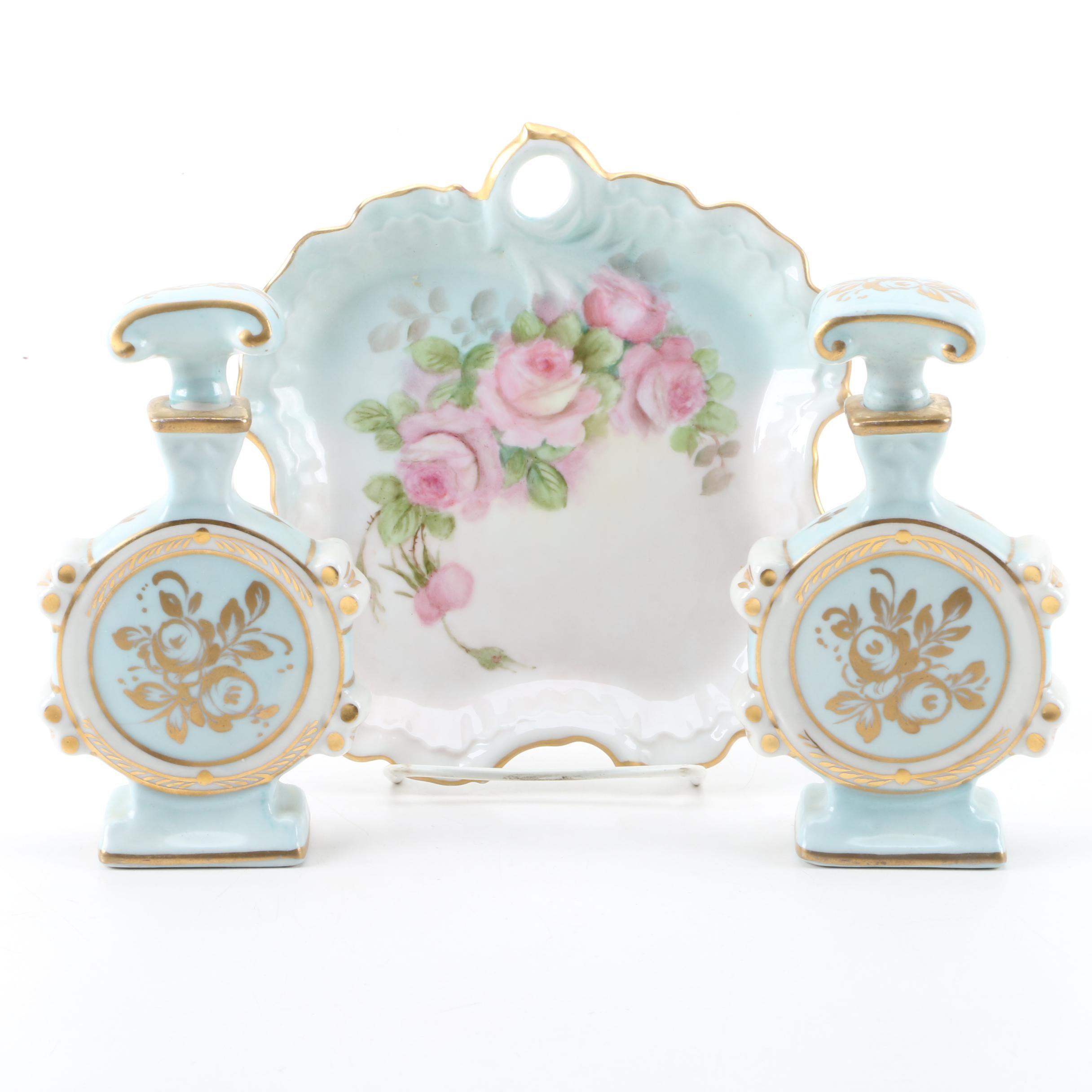 Limoges Porcelain Perfume Bottles and R. Ayers Trinket Dish