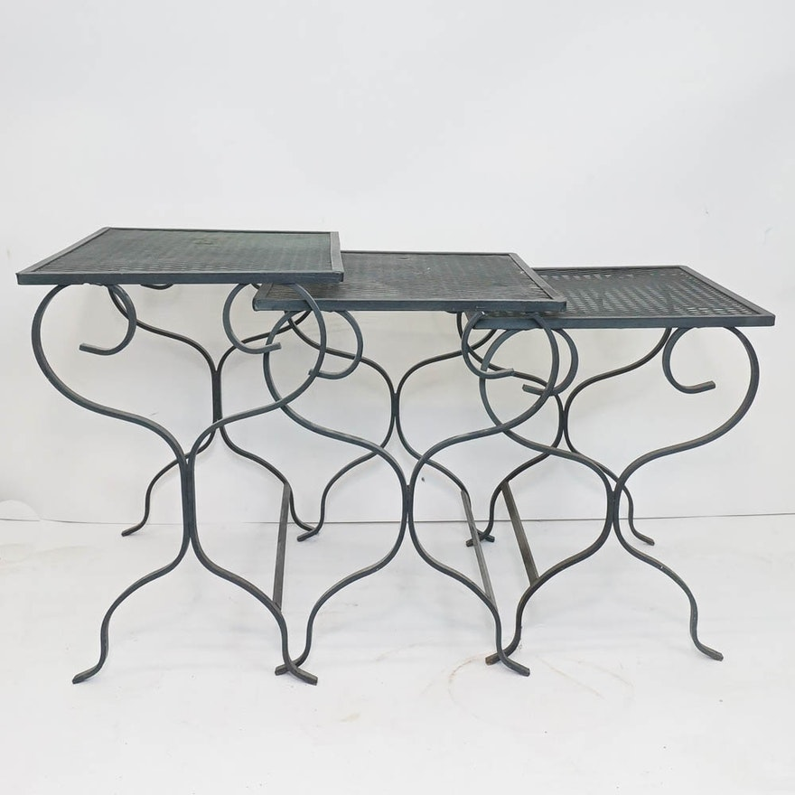 Nesting Wrought Iron Patio Side Tables