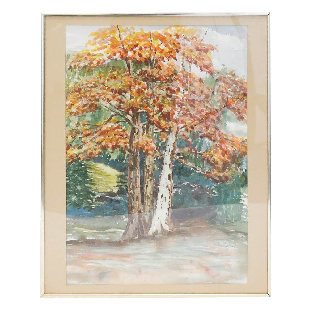Dorris Montgomery Watercolor Painting of Autumn Birches