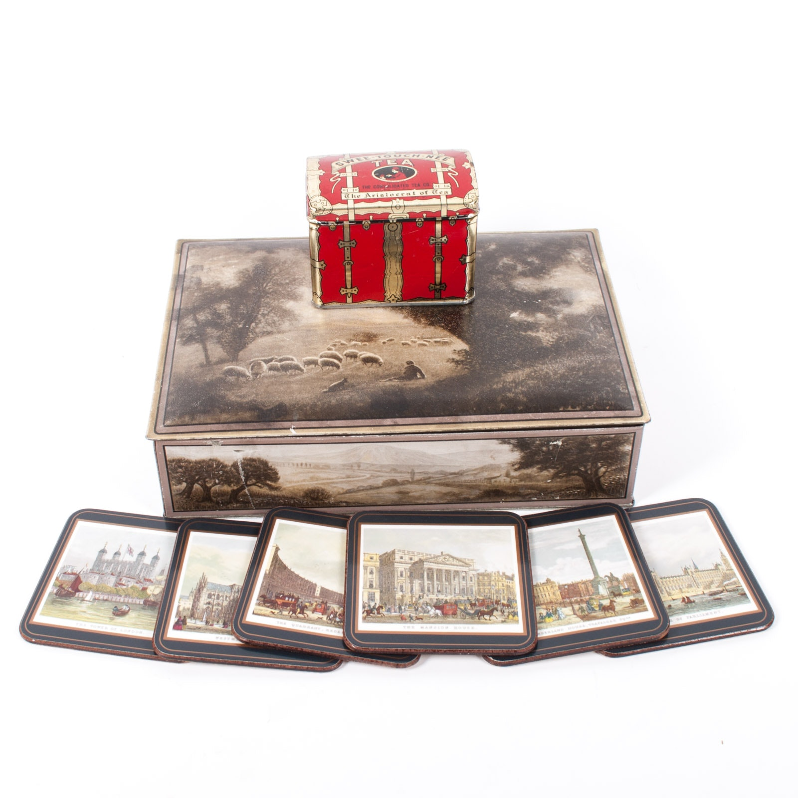 Uneeda Biscuit Tin with Swee-Touch-Nee Tea Tin and PImpernel Coasters