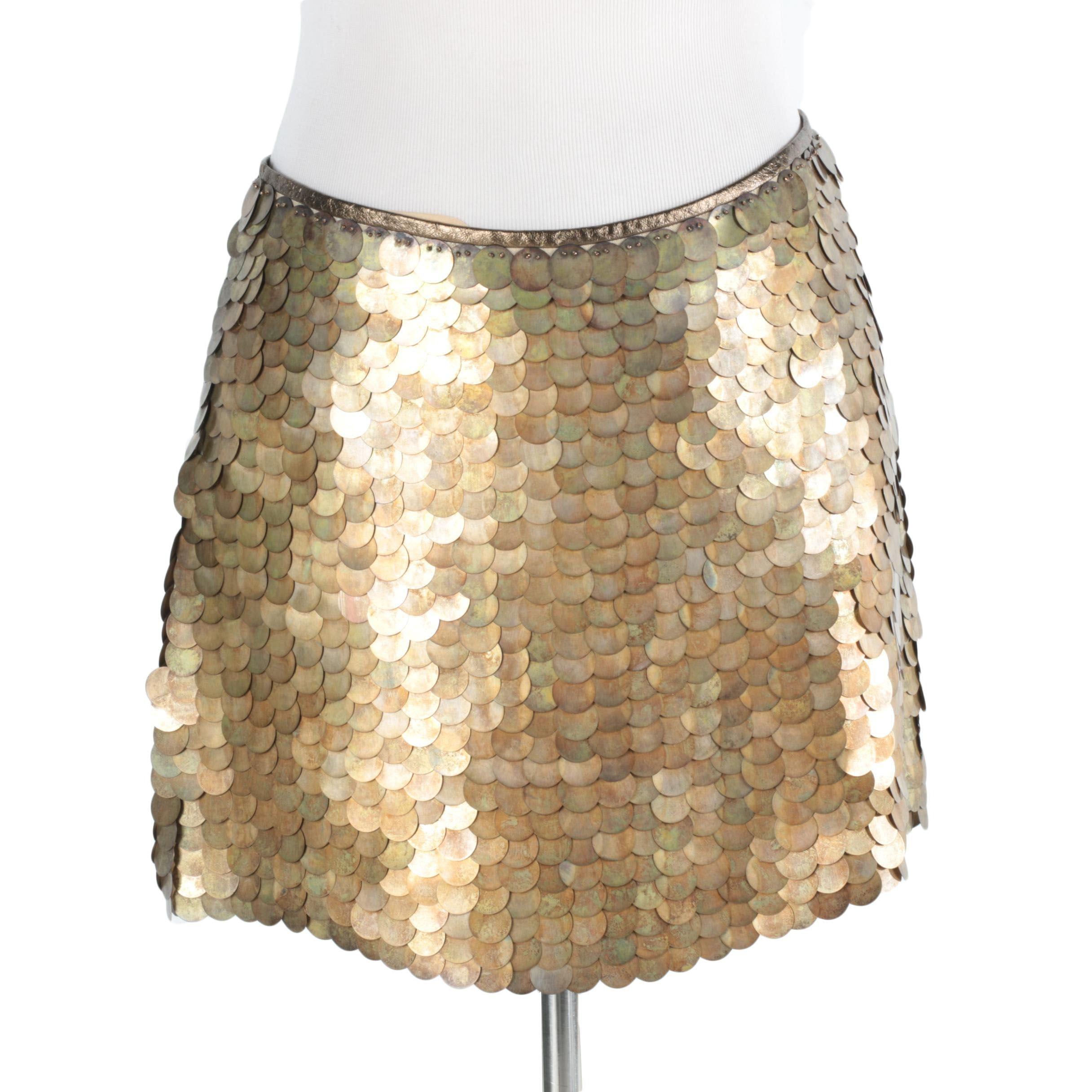 Celine Brass Tone Sequin Skirt