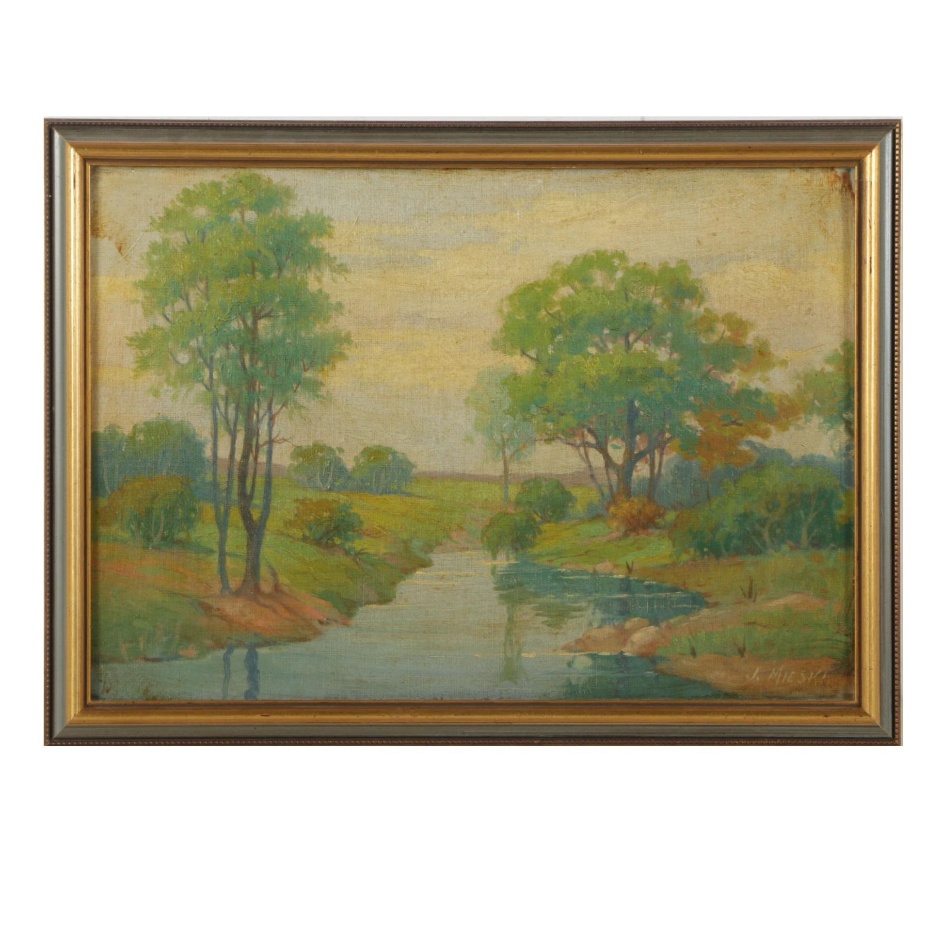J. Mieski Oil Painting of Forest Stream