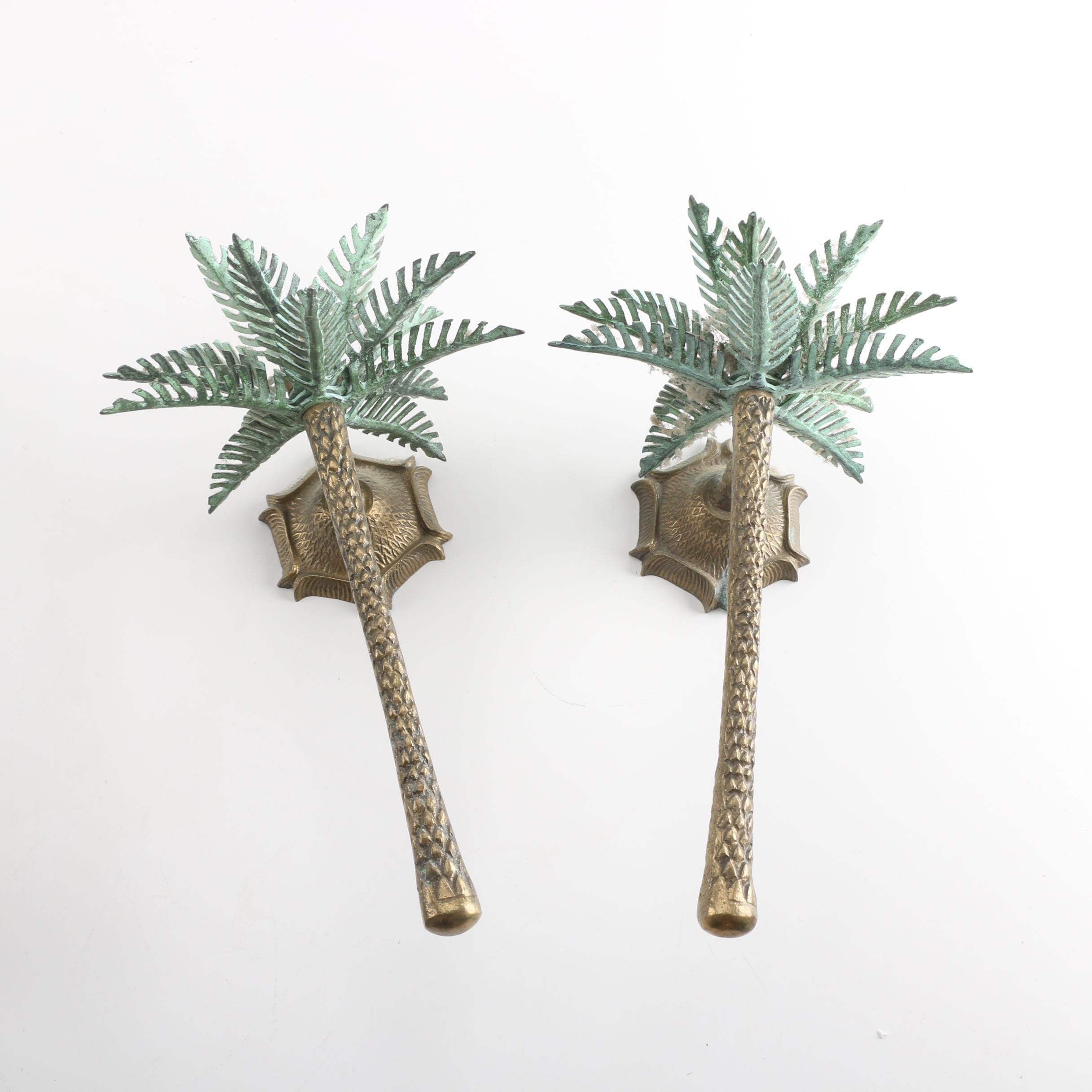 Metal Candle Sconces with Palm Trees