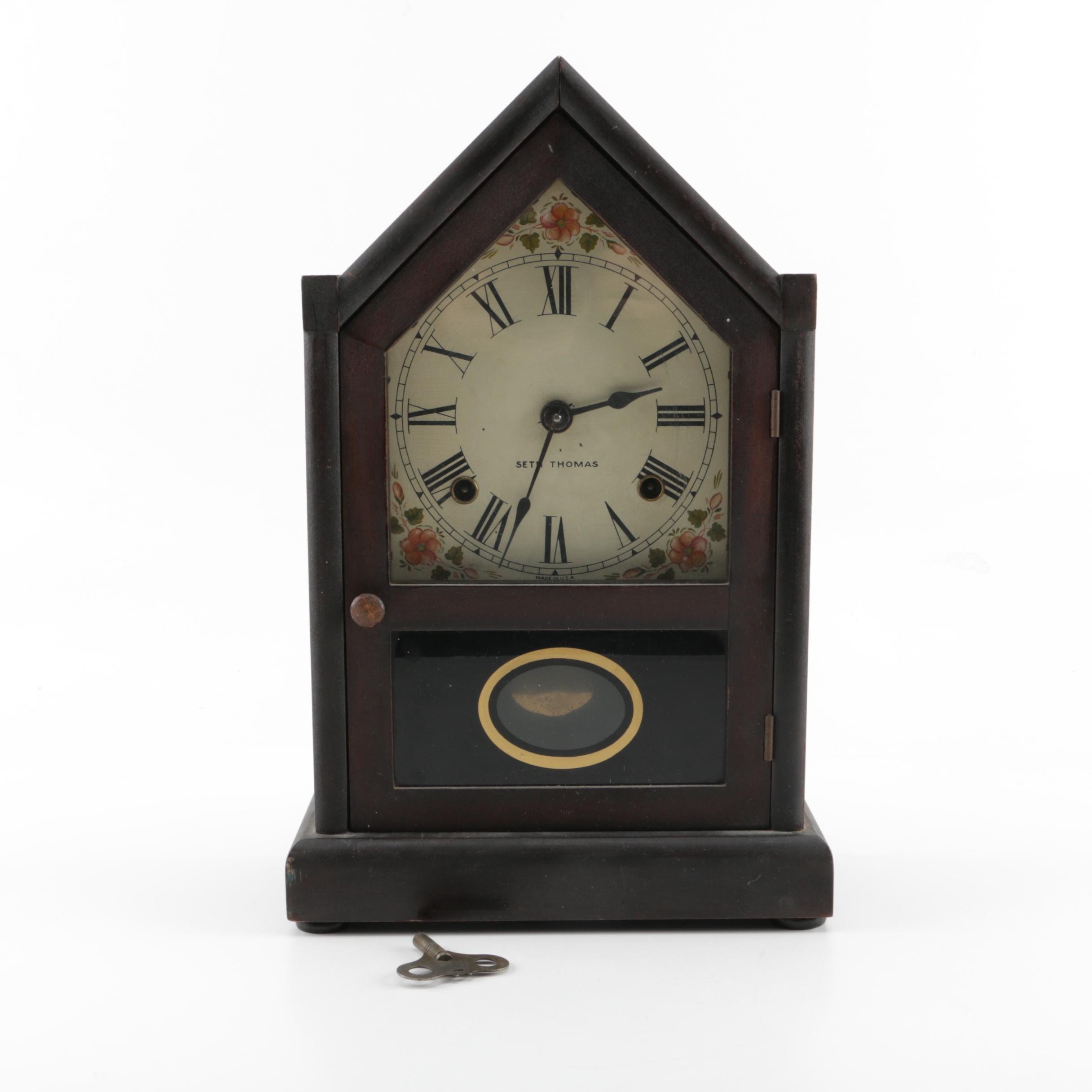 "1930s Seth Thomas ""Sharon"" Wood Steeple Mantel Clock"