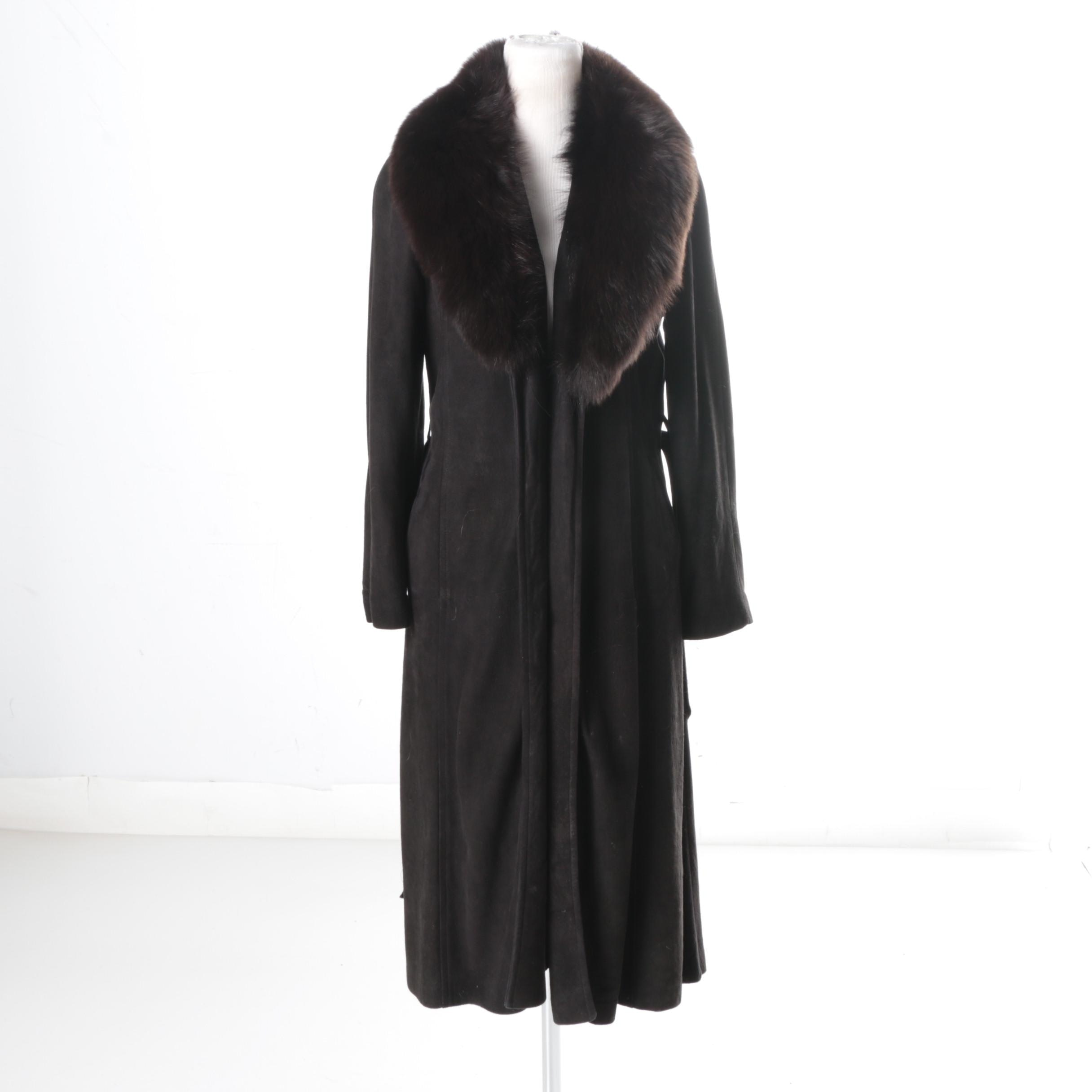 Vintage Black Suede Coat with Fox Fur Collar