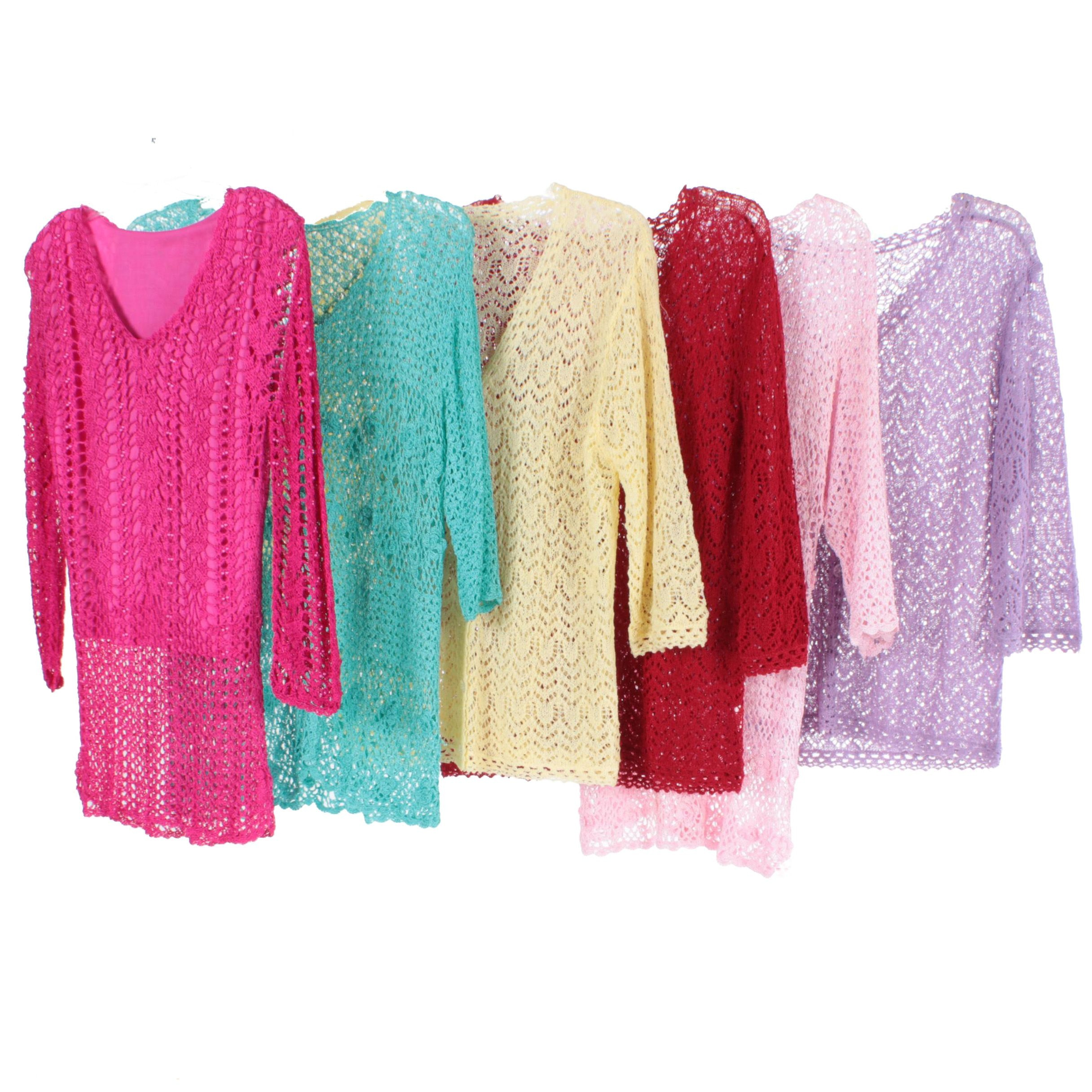 Colorful Pointelle Knit Sweaters and Cardigans