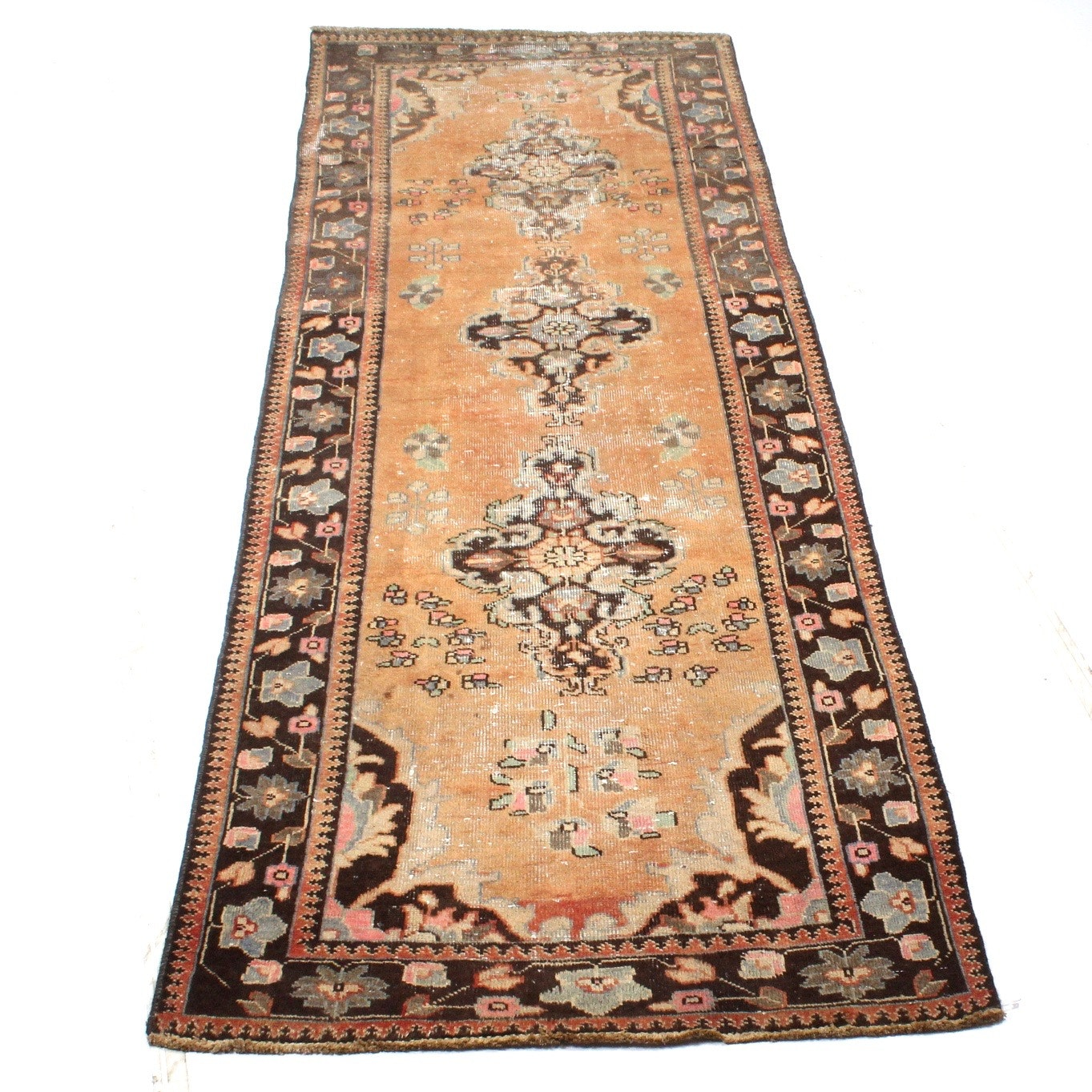 Semi-Antique Hand-Knotted Persian Malayer Sarouk Rug Runner
