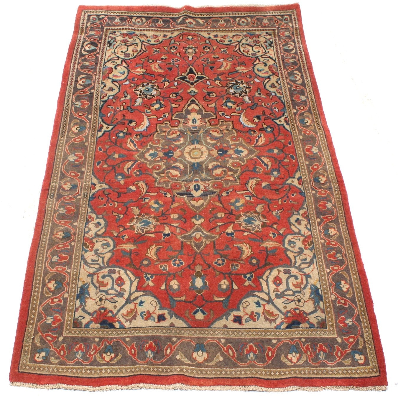 Semi-Antique Hand-Knotted Persian Sarouk Rug