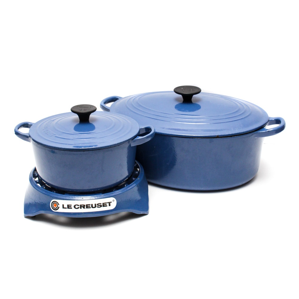 Le Creuset Dutch Ovens and Trivet in Cobalt