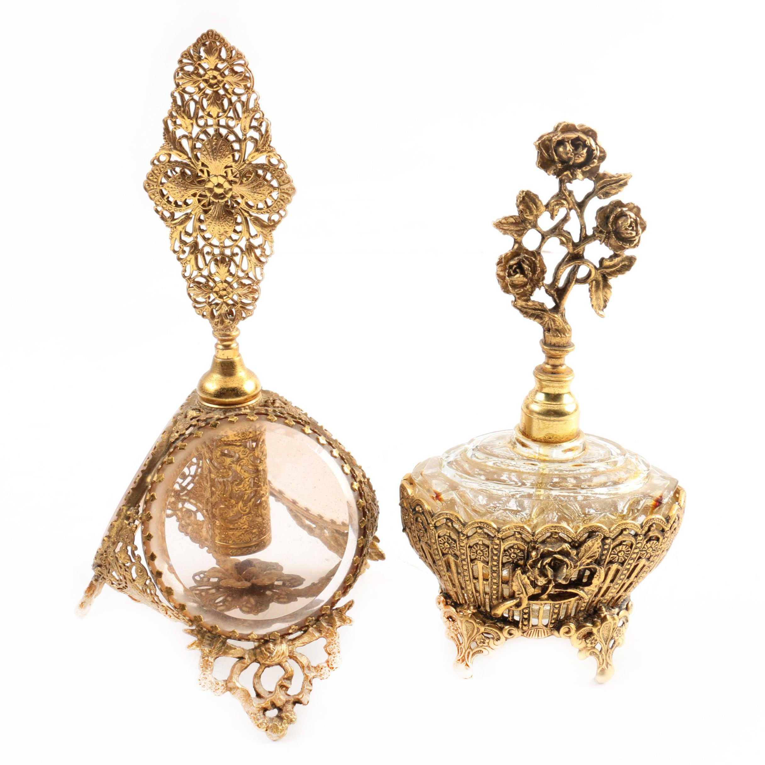 Antique French Ormolu Perfume Bottles