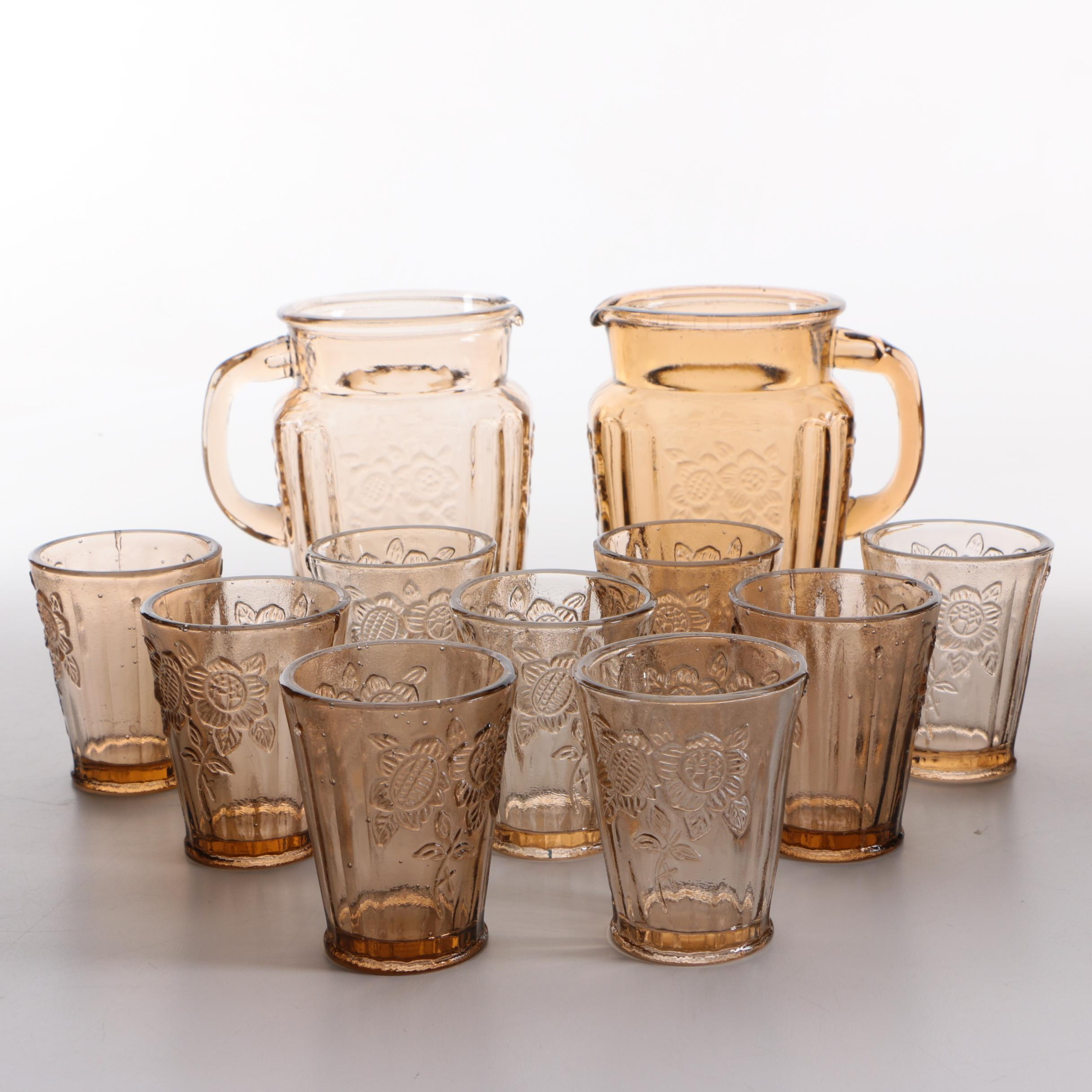 """Anchor Hocking """"Mayfair Pink"""" Pitchers and Tumblers"""