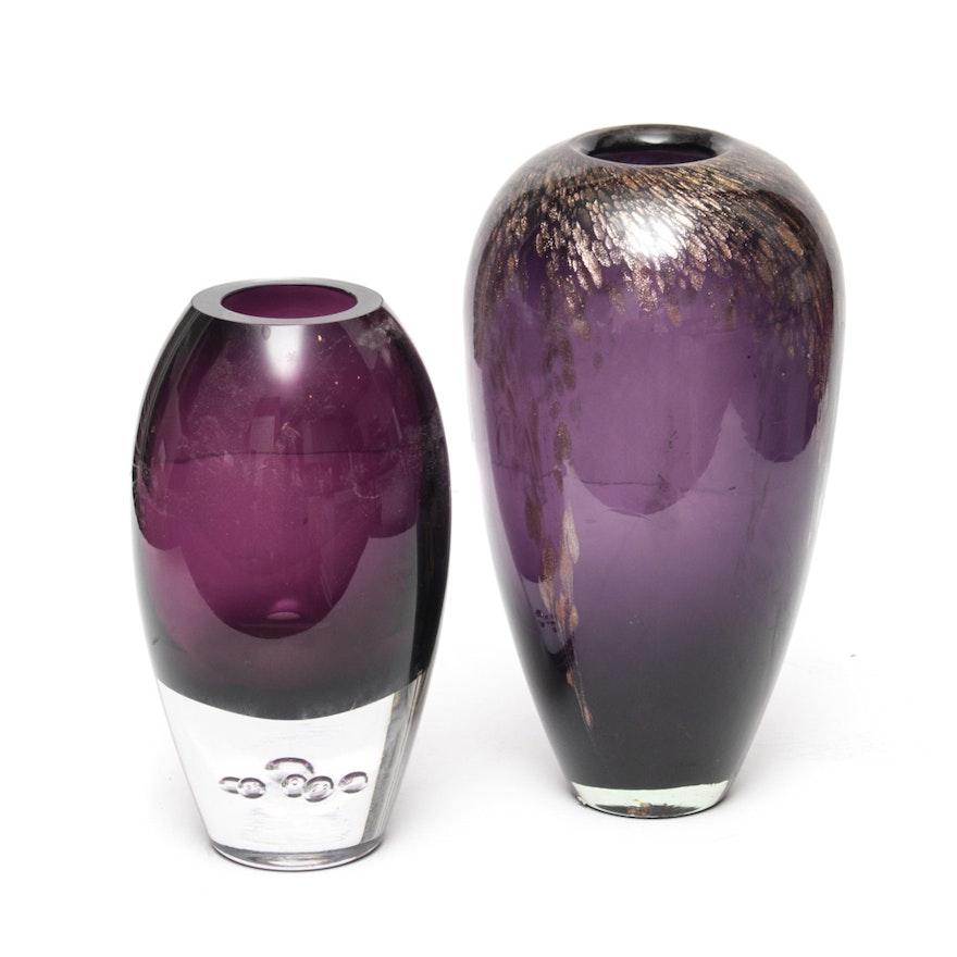 Pair Of Purple Glass Vases Ebth