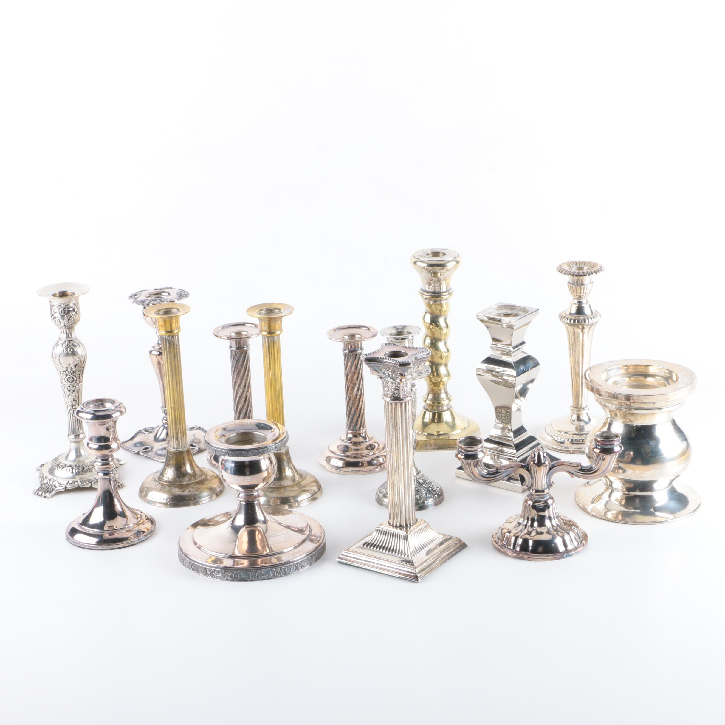 Silver Plate Candleholder and Candlestick Collection