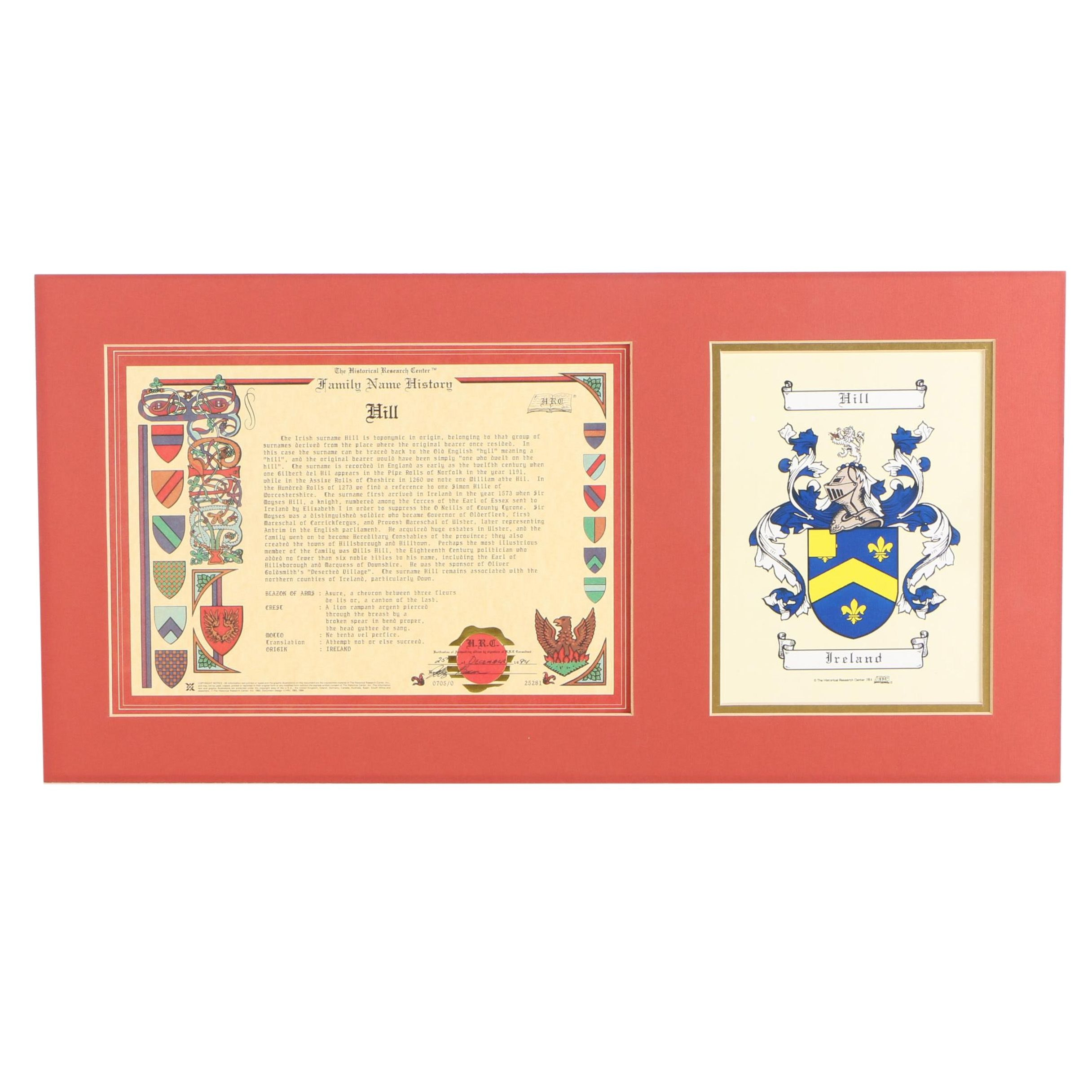 Offset Lithograph on Wove Paper of Hill Surname Irish Family Crest