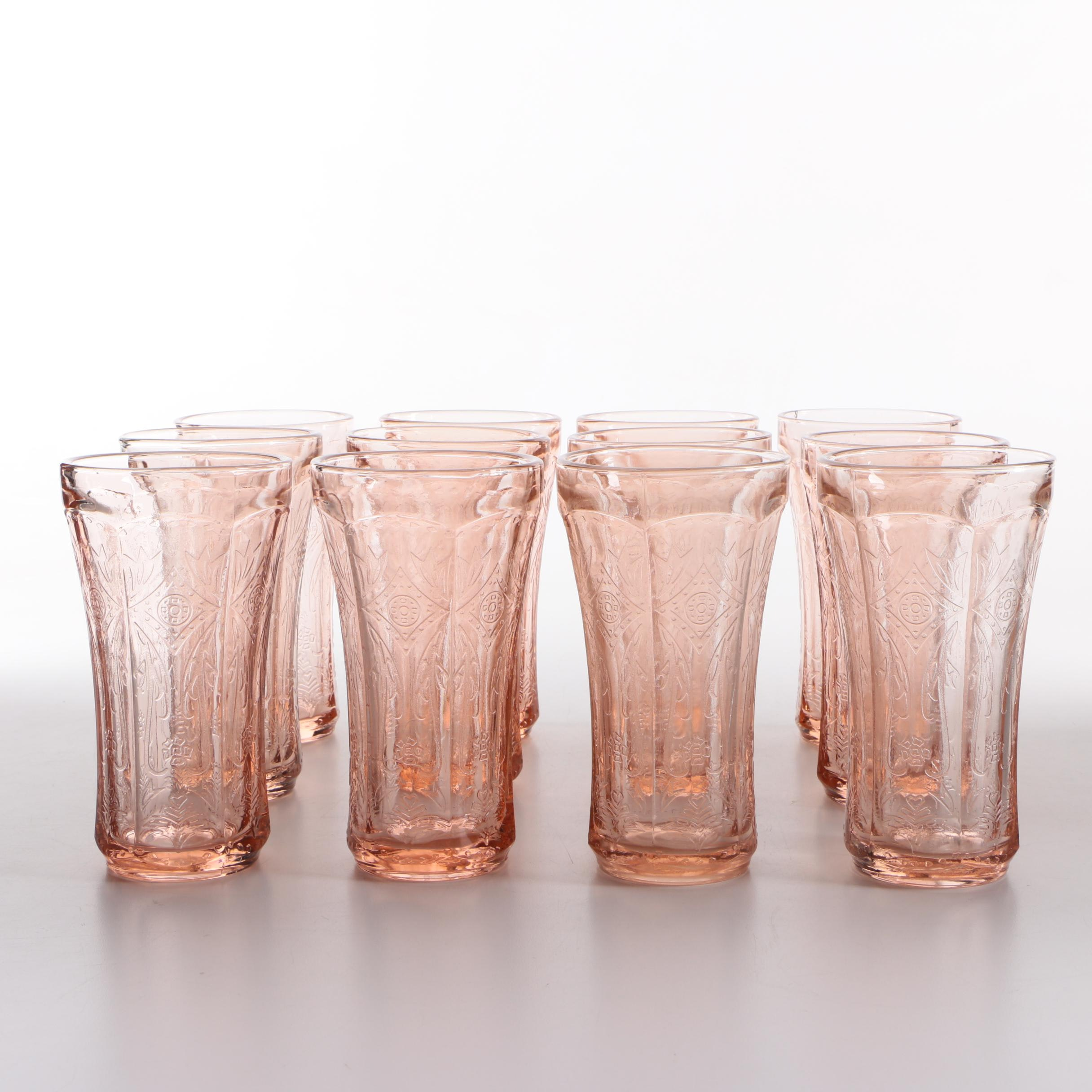 """Indiana Glass """"Recollections Pink"""" Depression Glass Tumblers"""