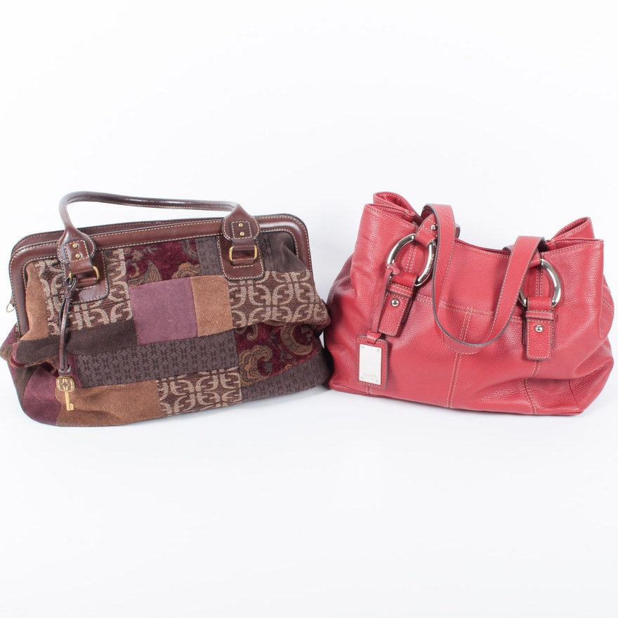 Tignanello Red Leather Handbag And Fossil Patchwork