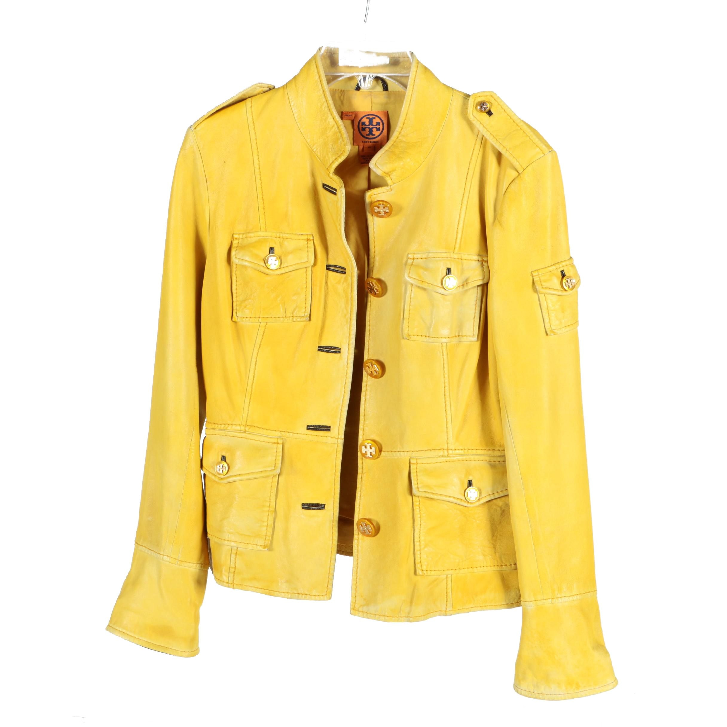 Tory Burch Sgt. Pepper Yellow Leather Military Jacket