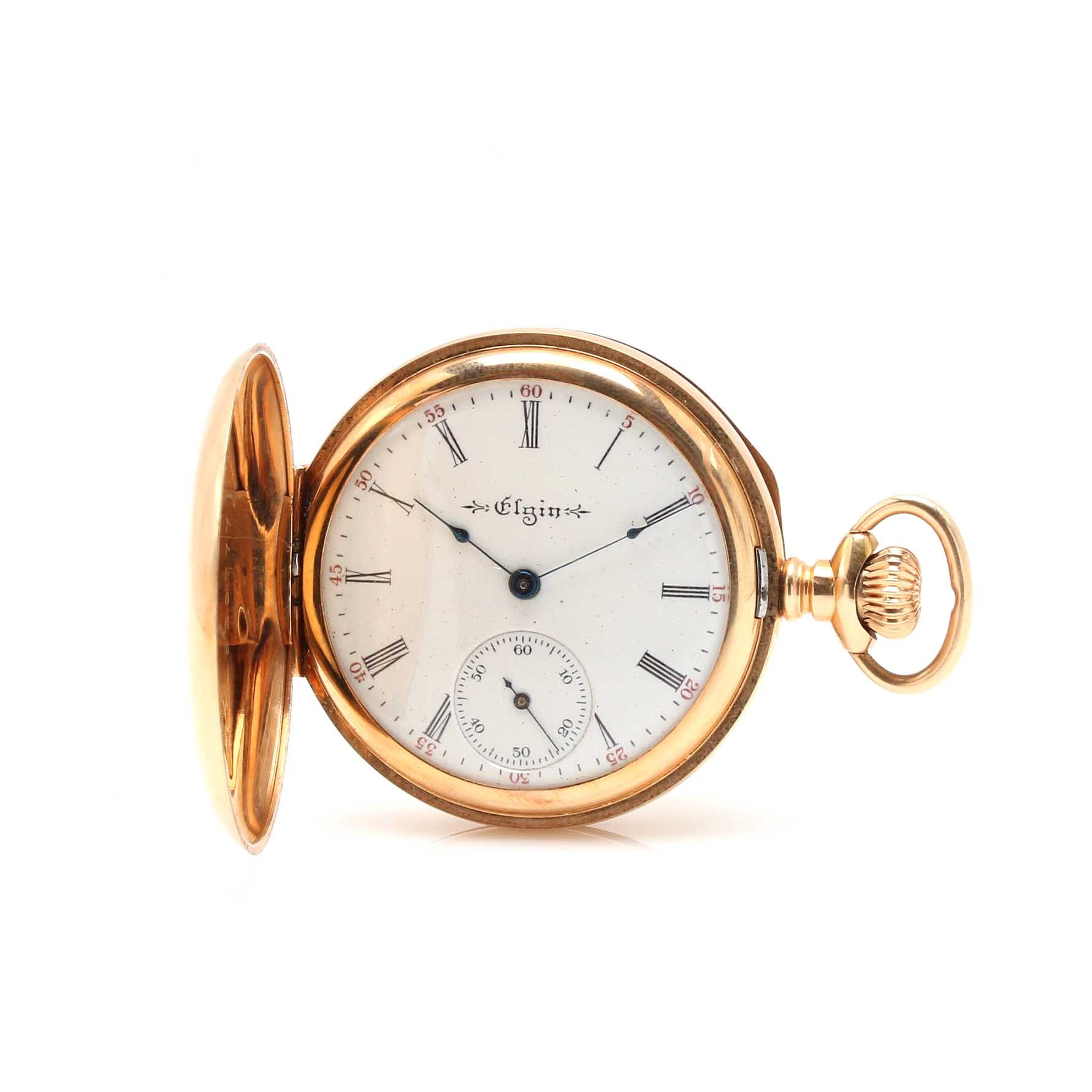 Antique Elgin 14K Yellow Gold Diamond Accent Pocket Watch