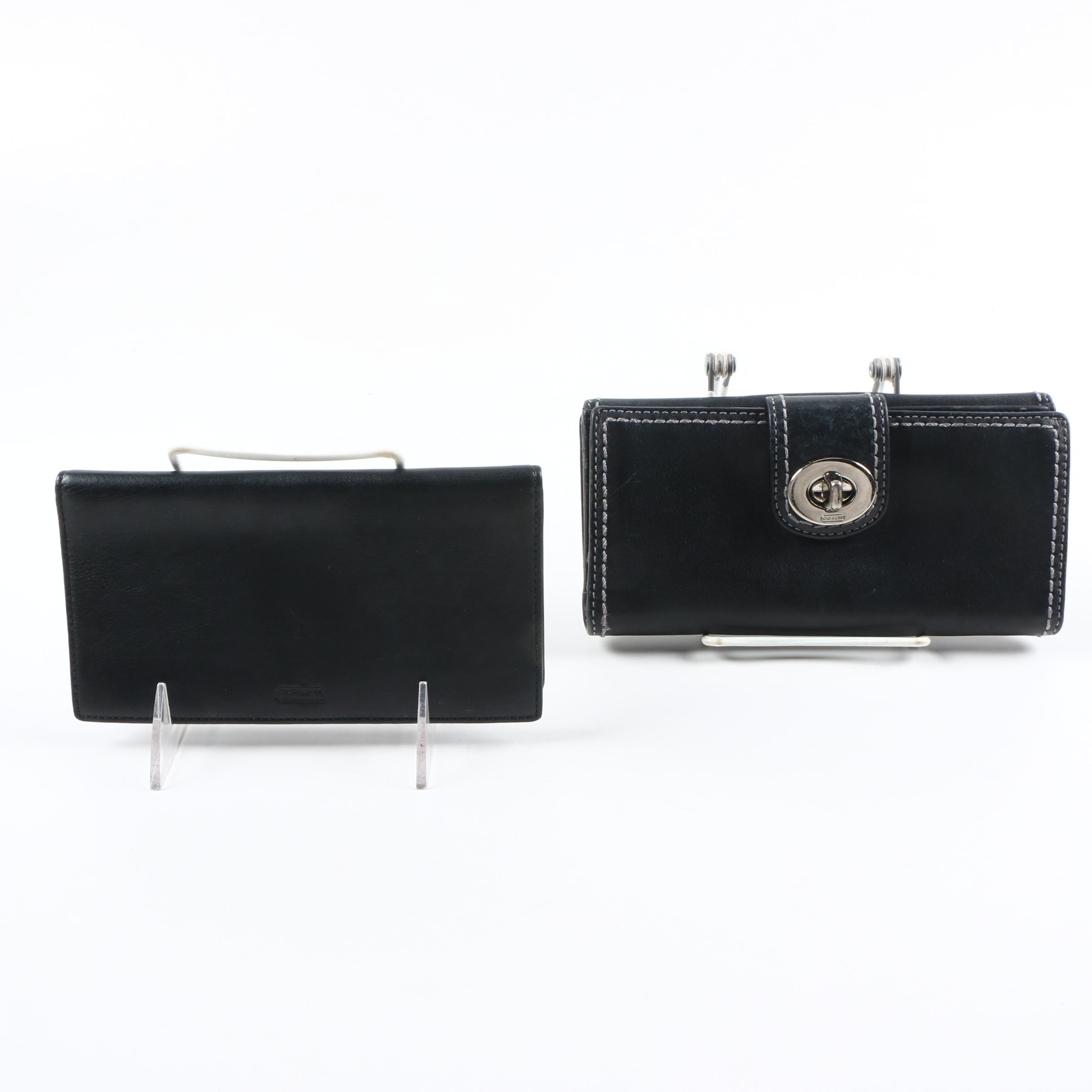 Coach Black Leather Wallets