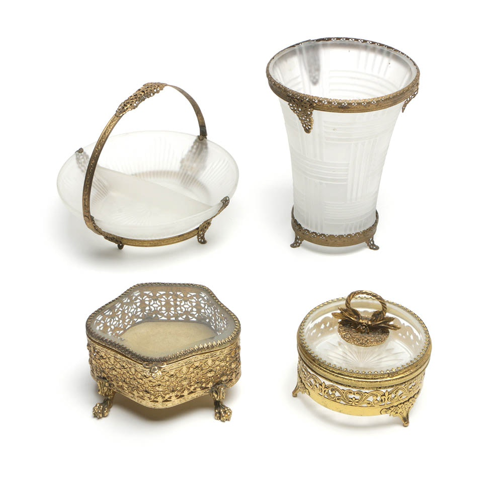 Brass and Glass Vessels and Trinket boxes