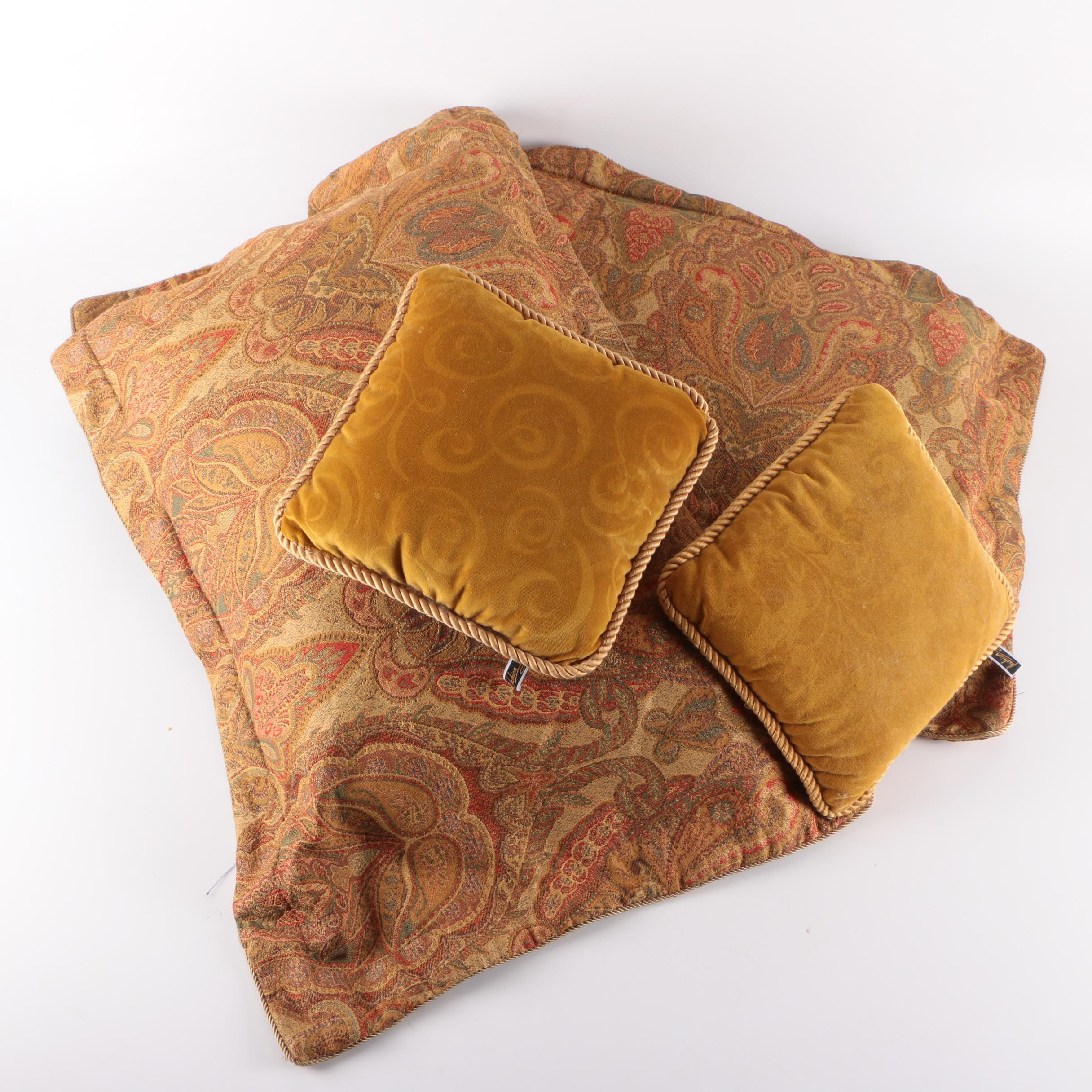 Assorted Woven and PlushThrow Pillows