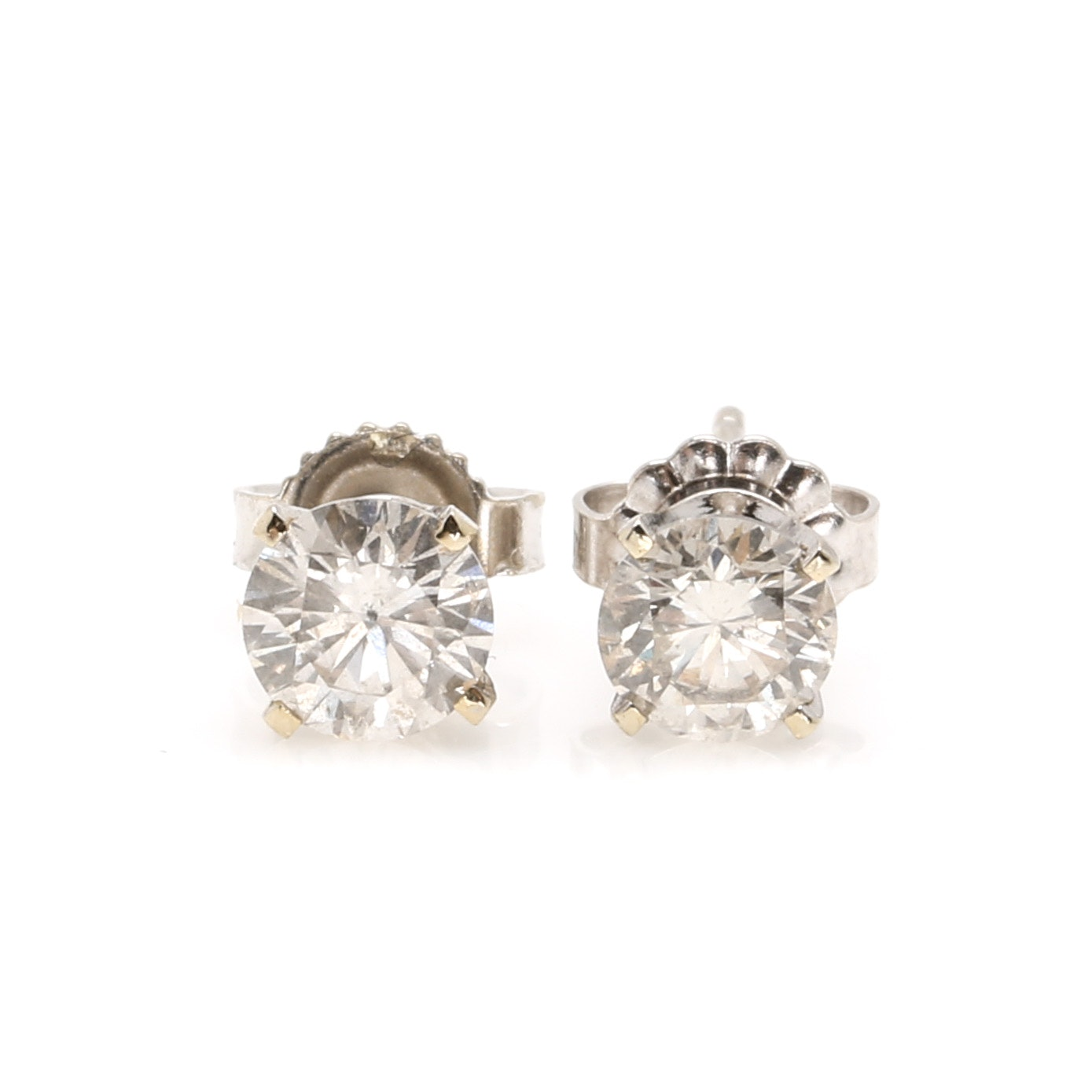 14K White Gold 1.02 CTW Diamond Stud Earrings