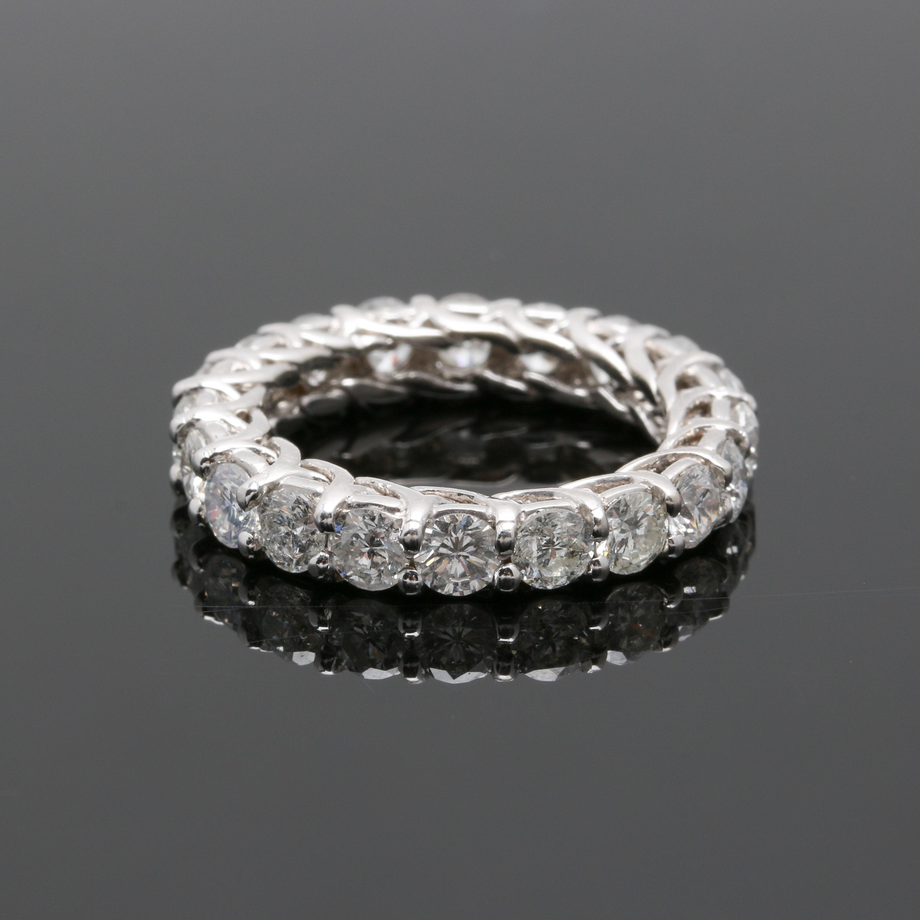 14K White Gold 3.07 CTW Diamond Eternity Ring Band