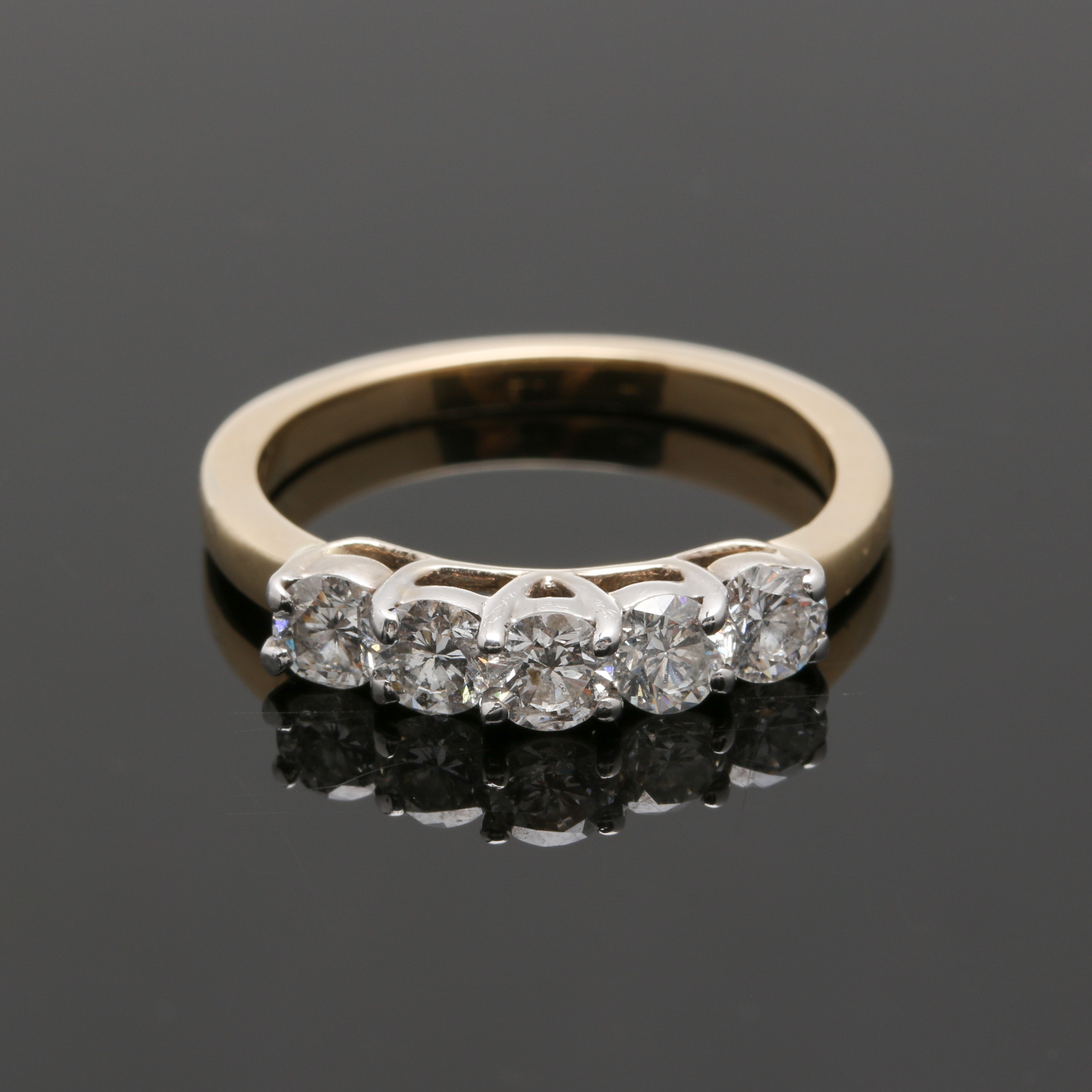 14K Yellow Gold Diamond Five Stone Ring