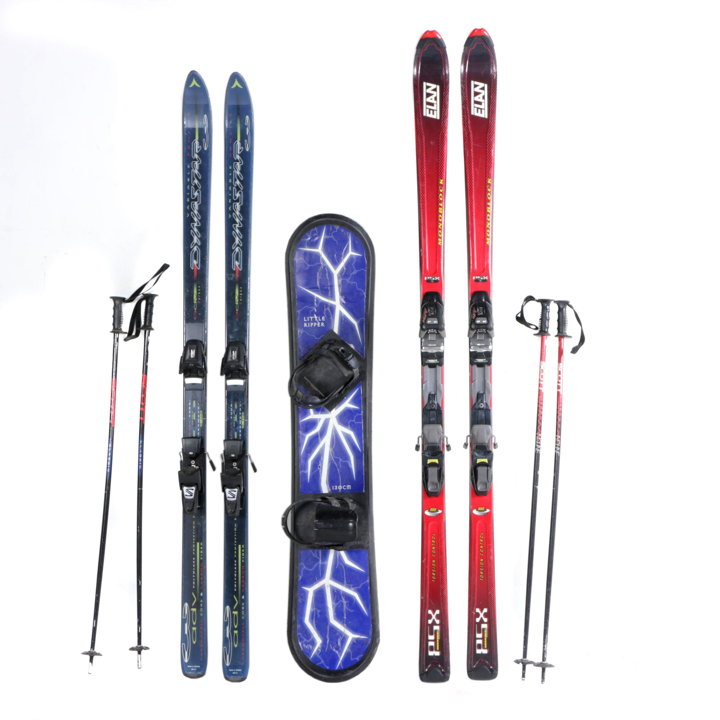 Dynastar and Elan Downhill Skis with Little Ripper Snowboard