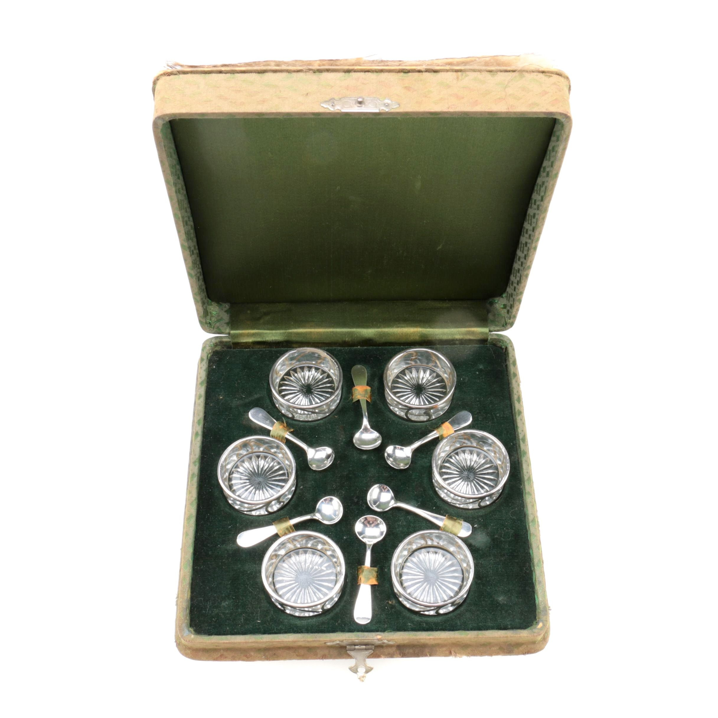 Alvin Manufacturing Co. Sterling Silver and Glass Salt Cellars and Spoons