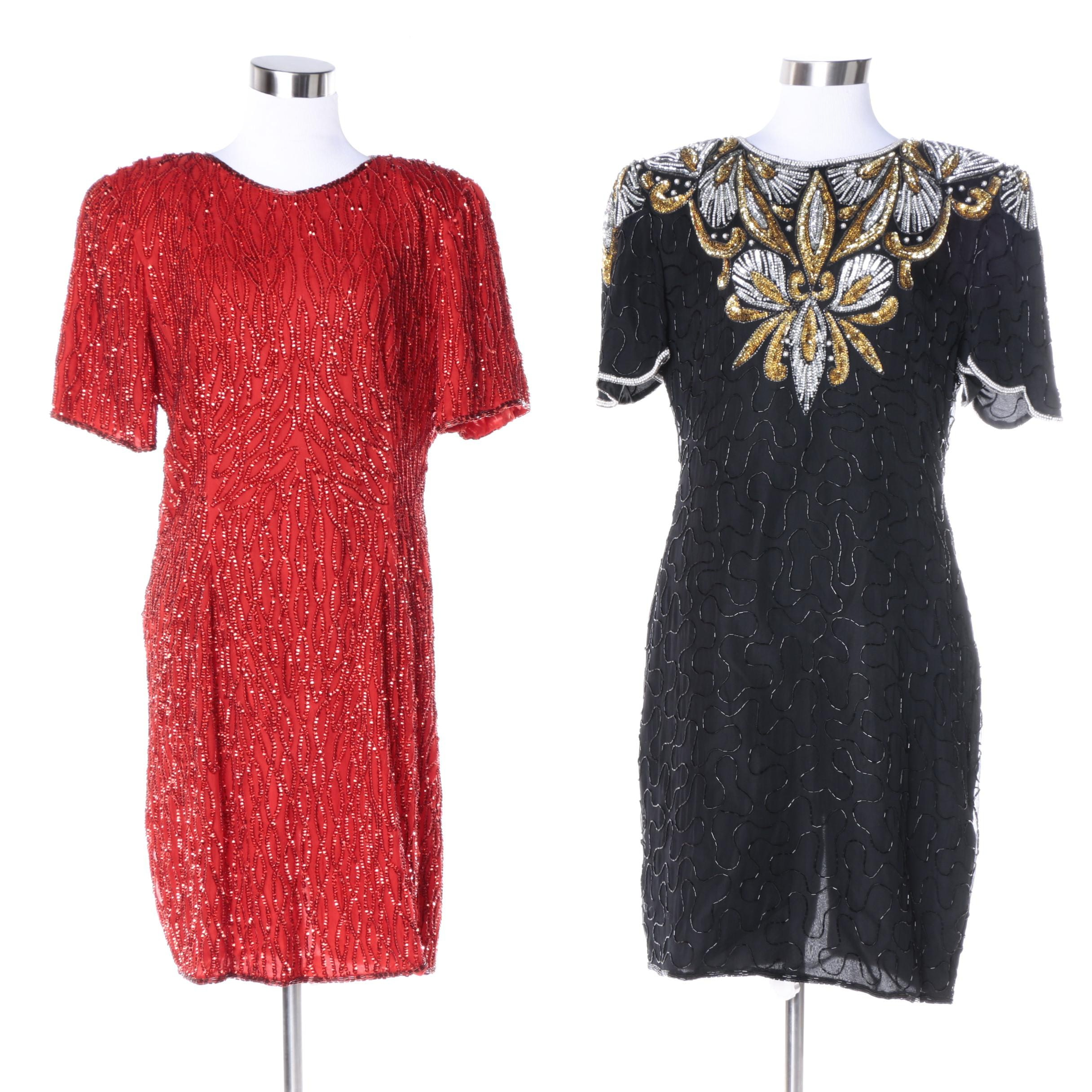 1980s Embellished Silk Dresses Including Denise Elle and Stenay