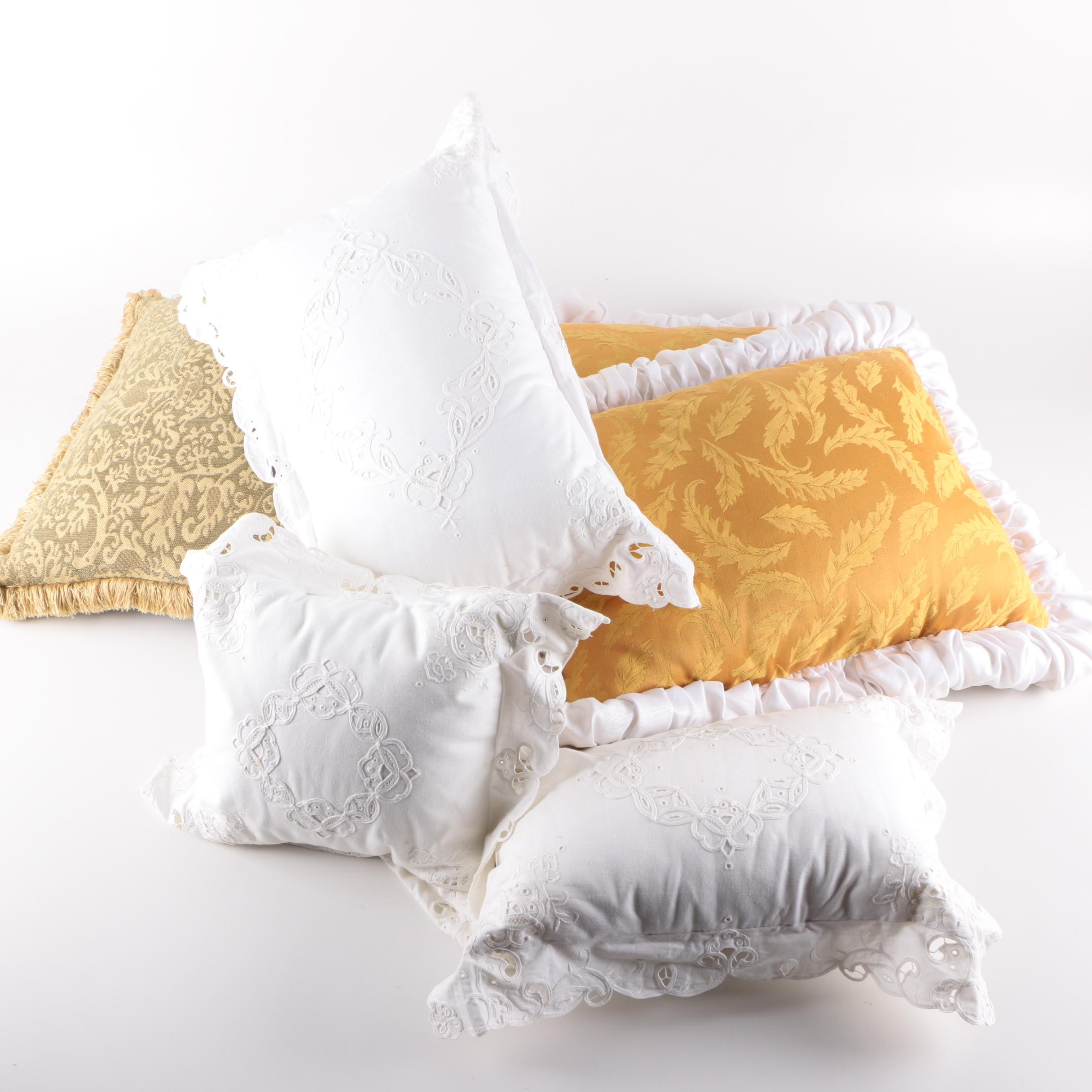 Assorted Cloth Trimmed Throw Pillows