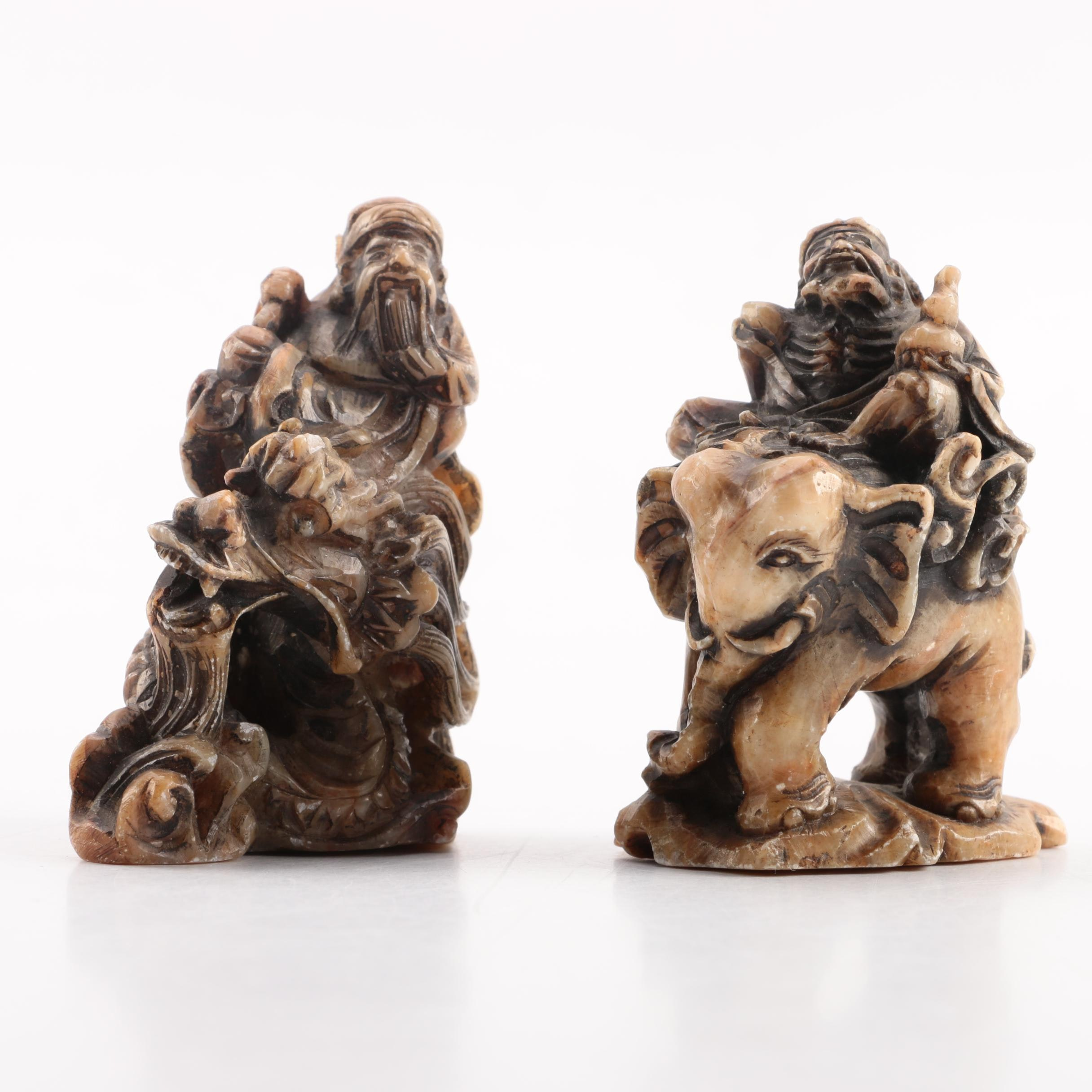 Chinese Hand Carved Soapstone Figurines