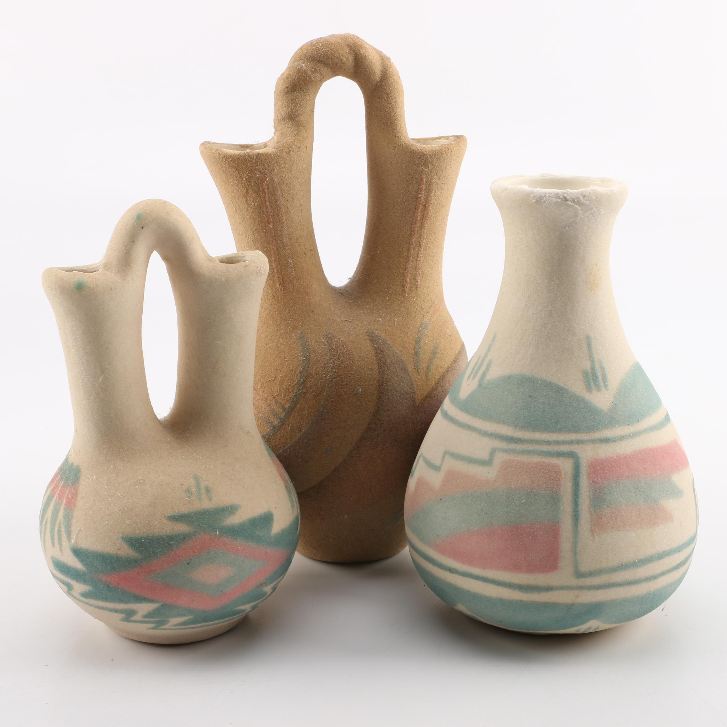 Navajo Style Sand Cast Pottery Vases