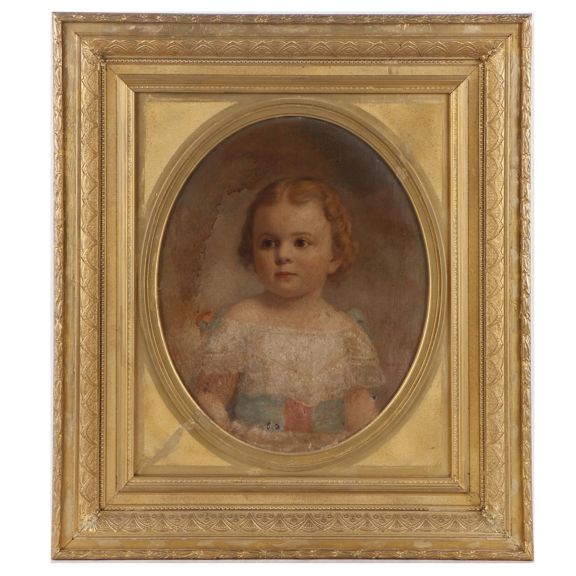 H. A. Loop Antique Oil Painting of Girl's Portrait