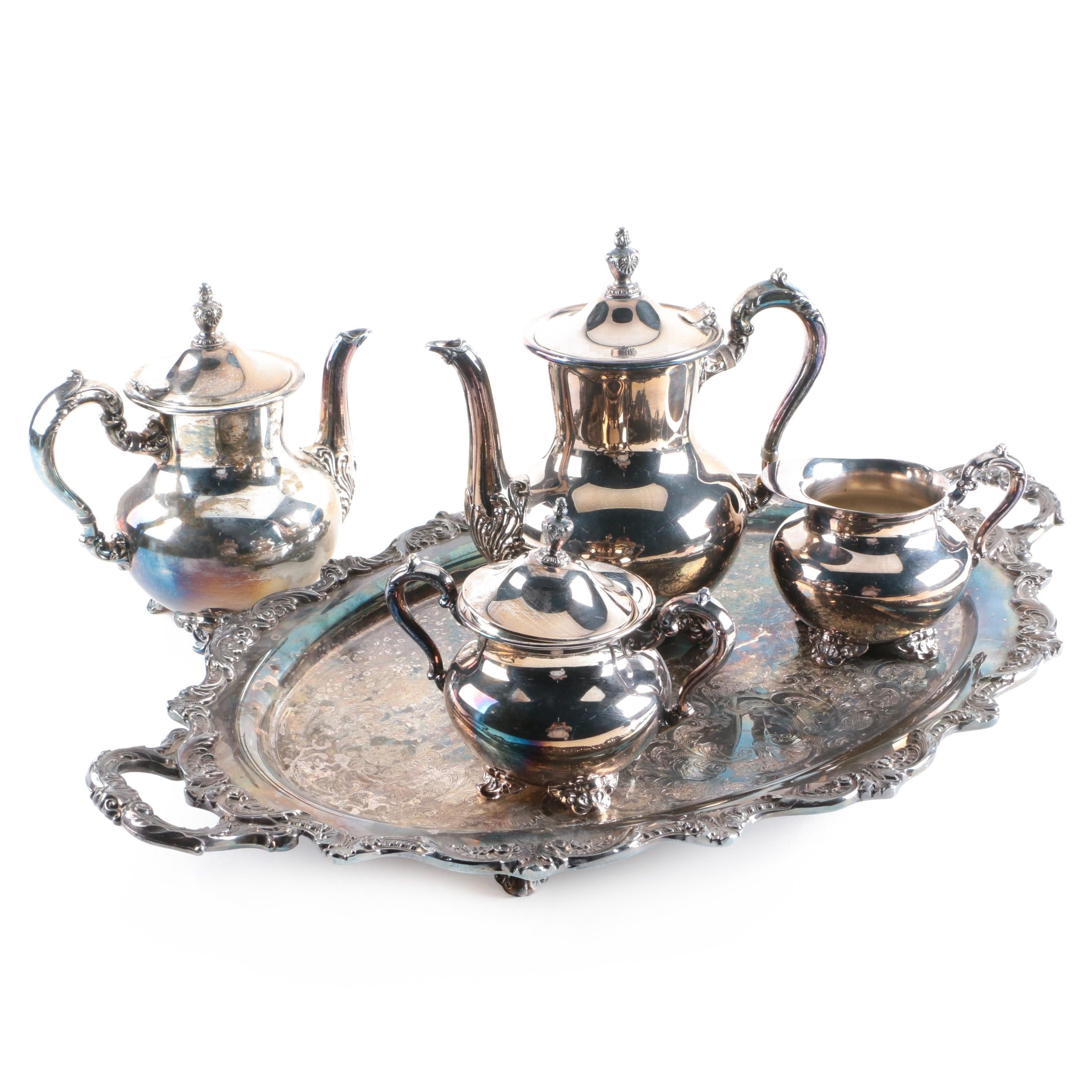Poole Silver Plate Footed Tea and Coffee Service