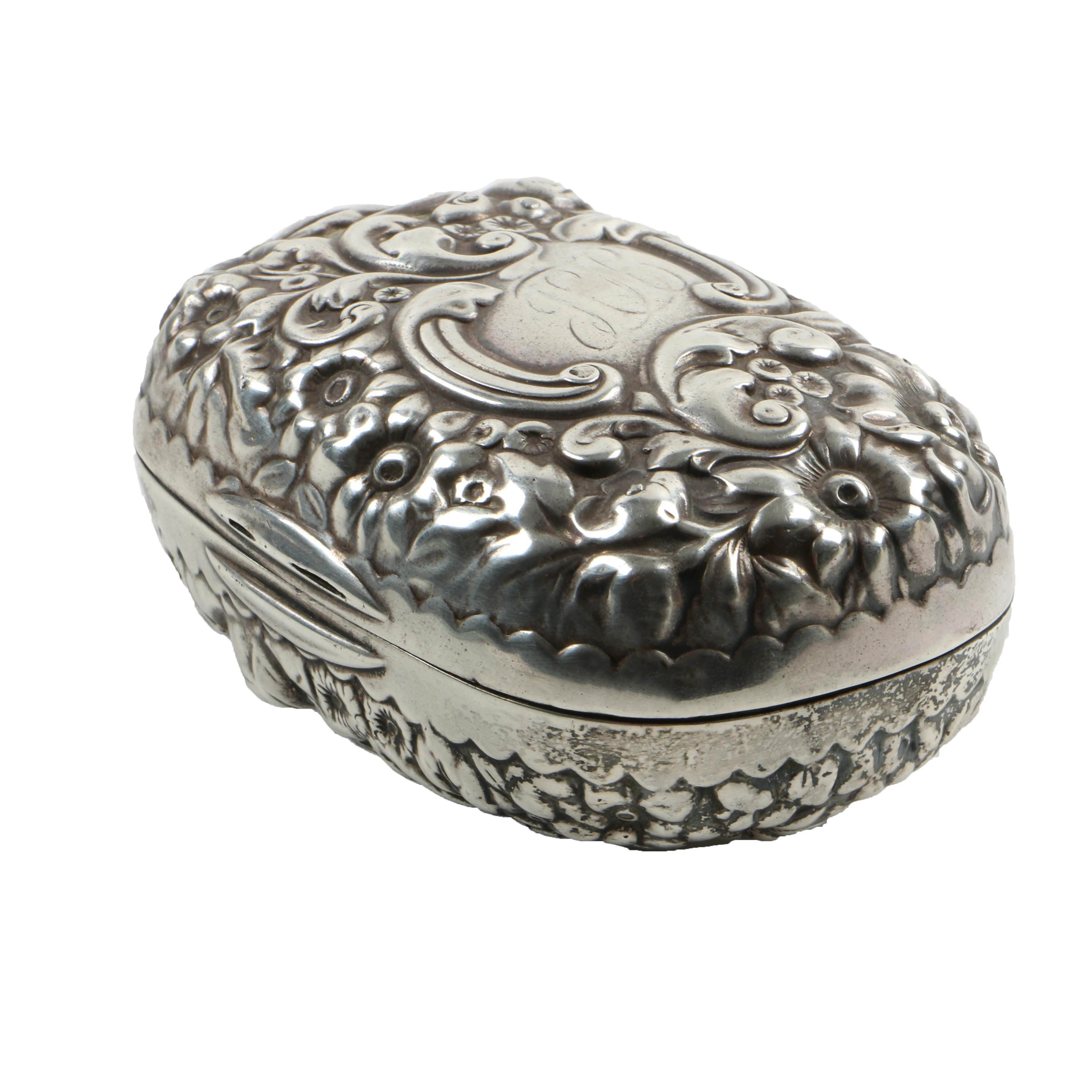 Gorham Sterling Silver Soap Dish in Floral Repousse Pattern